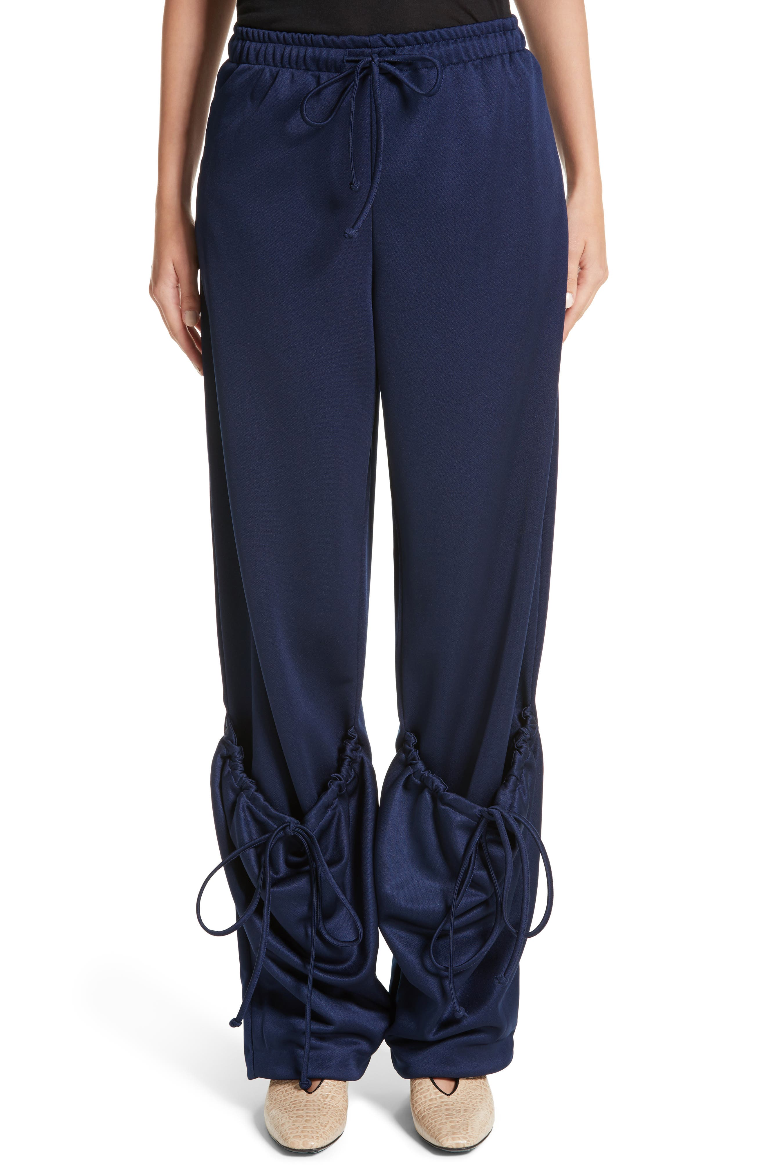 J.W.ANDERSON Jersey Pocket Hem Trousers,                             Main thumbnail 1, color,                             Midnight Blue