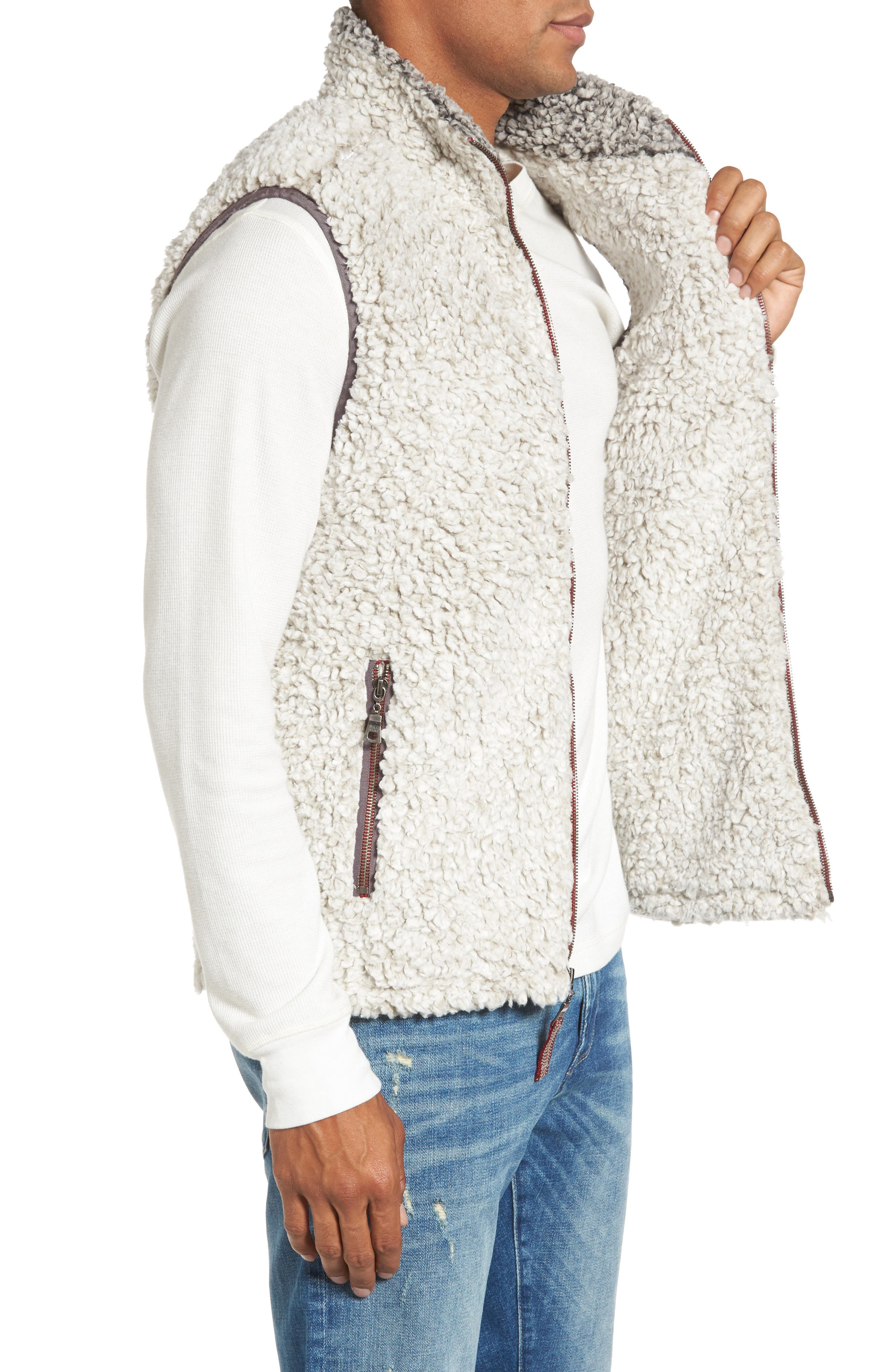 Double Up Frosty Tipped Faux Fur Vest,                             Alternate thumbnail 4, color,                             Putty