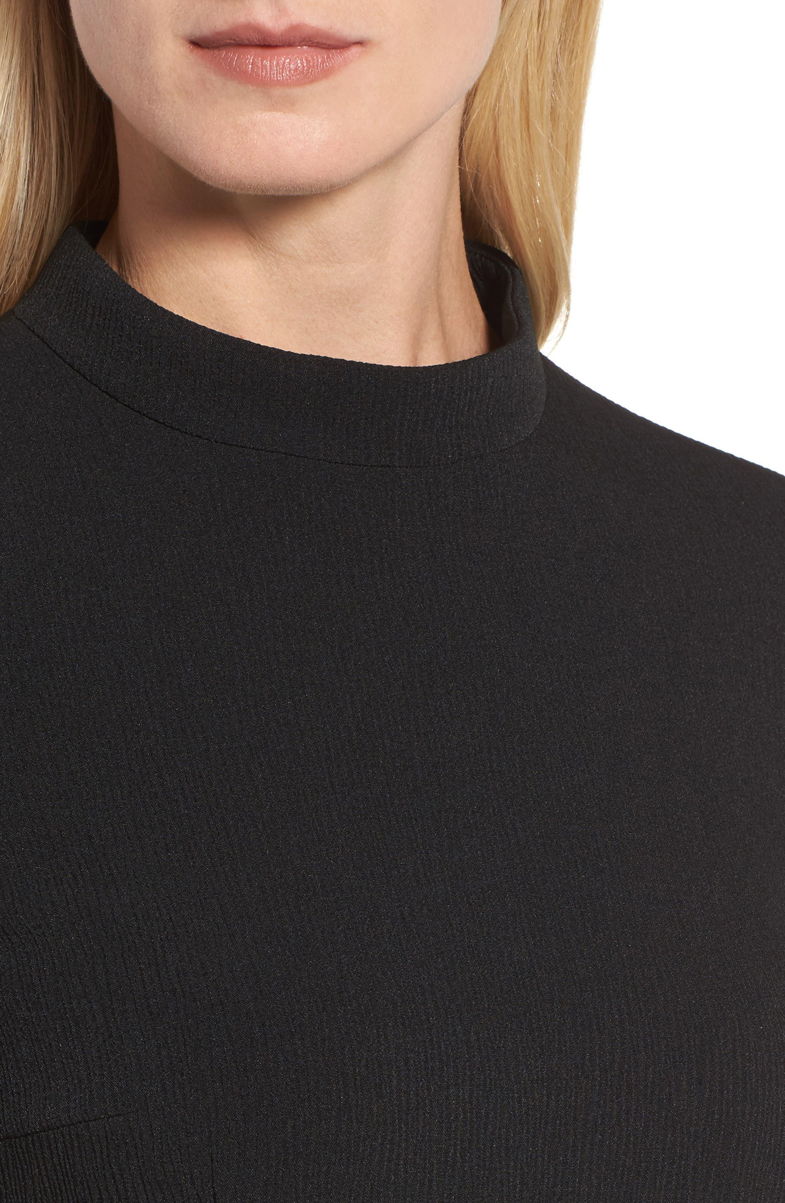 Dadena Crepe Sheath Dress,                             Alternate thumbnail 4, color,                             Black