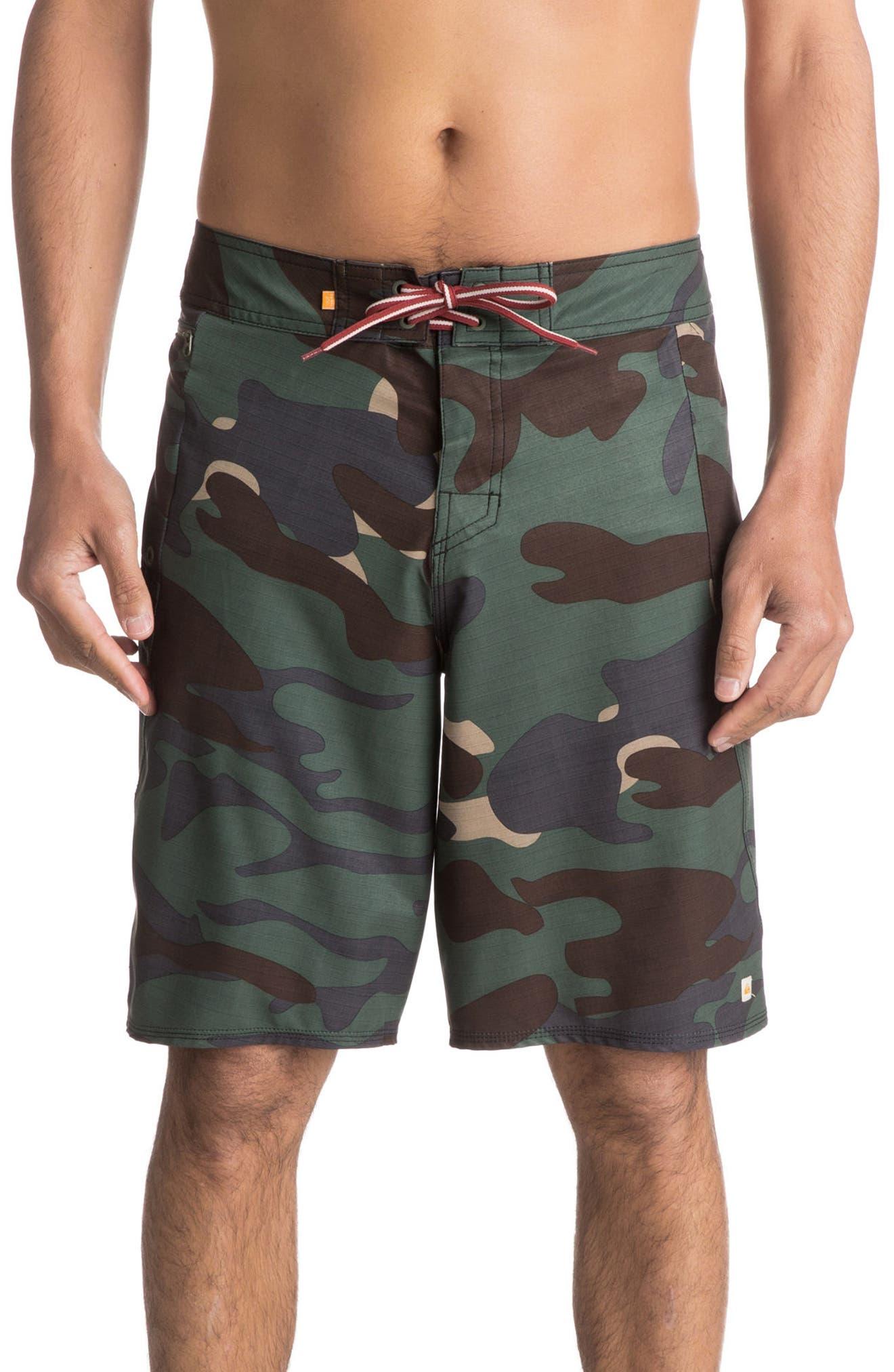 Paddler Camo Board Shorts,                         Main,                         color, Beetle