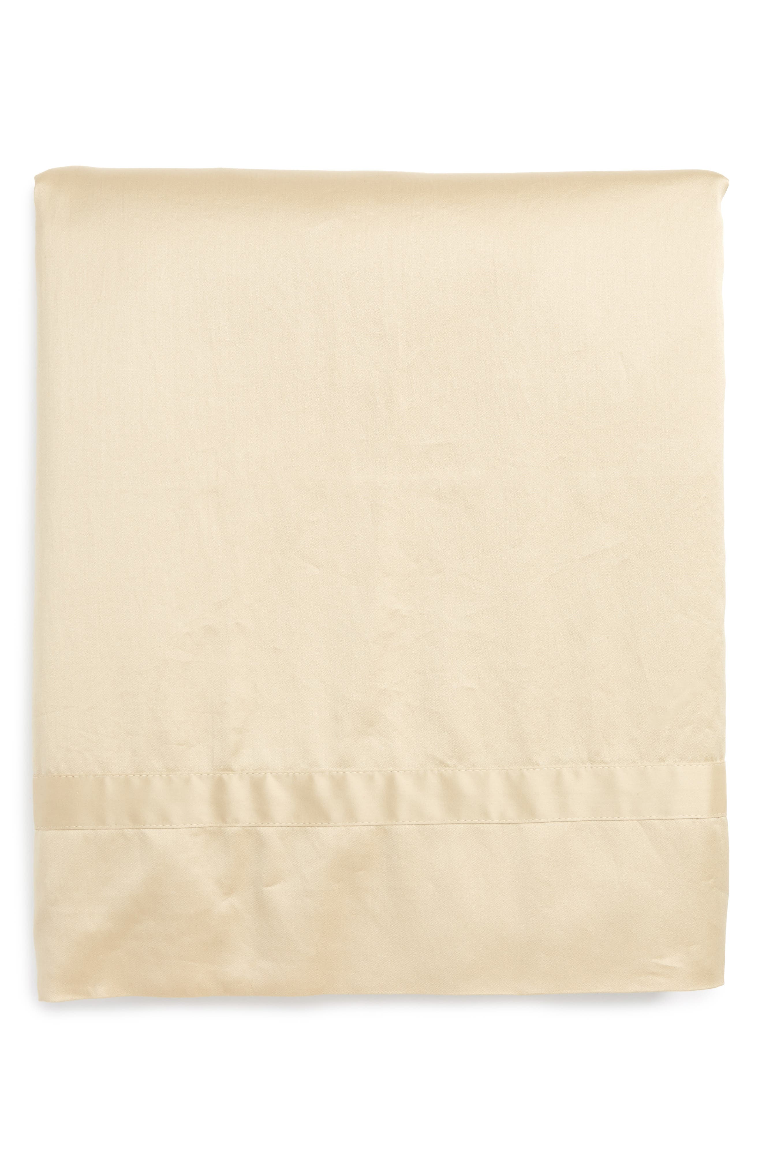 Nocturne 600 Thread Count Flat Sheet,                             Main thumbnail 1, color,                             Champagne