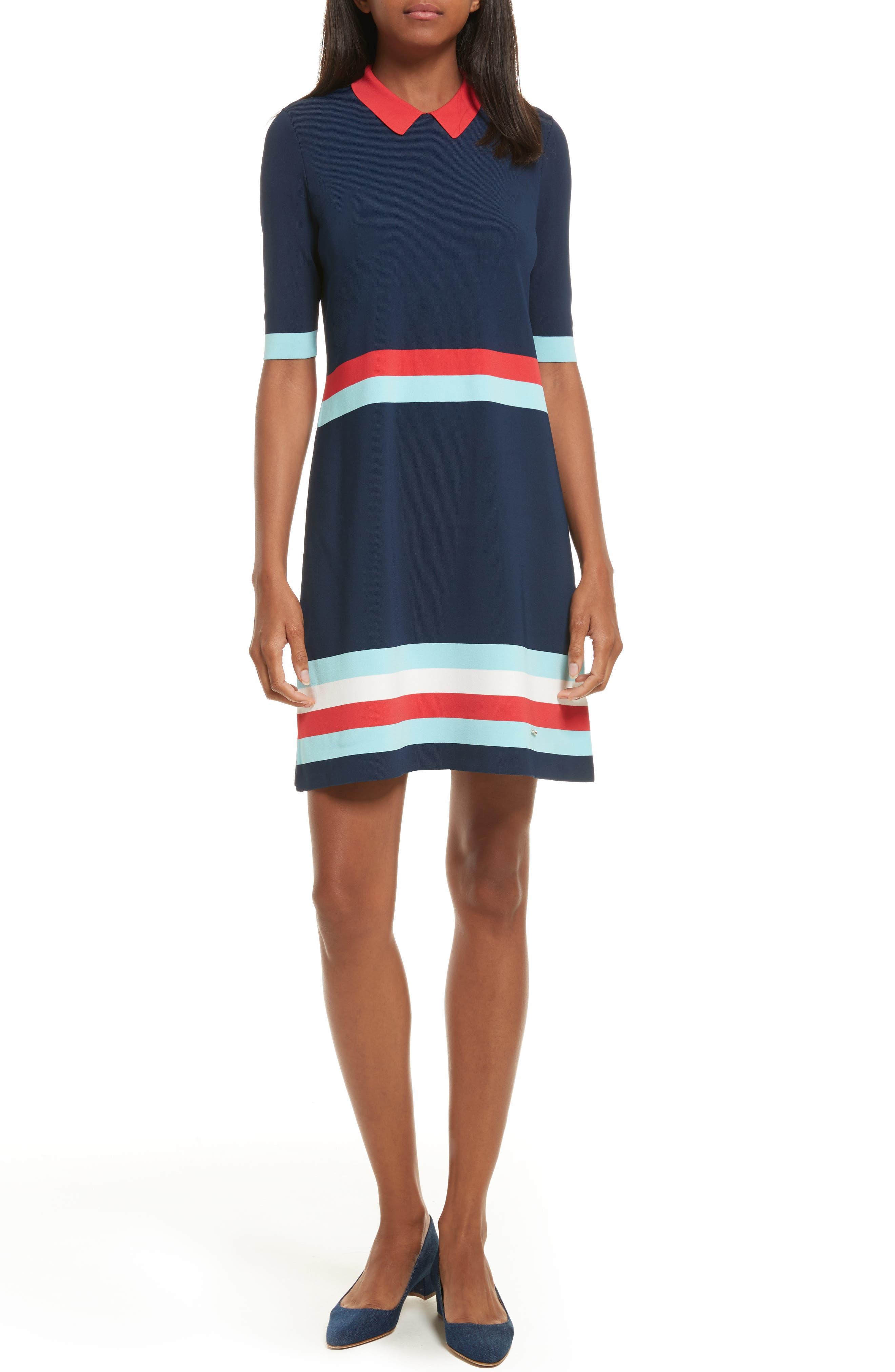 Origami Stripe Knit Dress,                         Main,                         color, Dark Blue