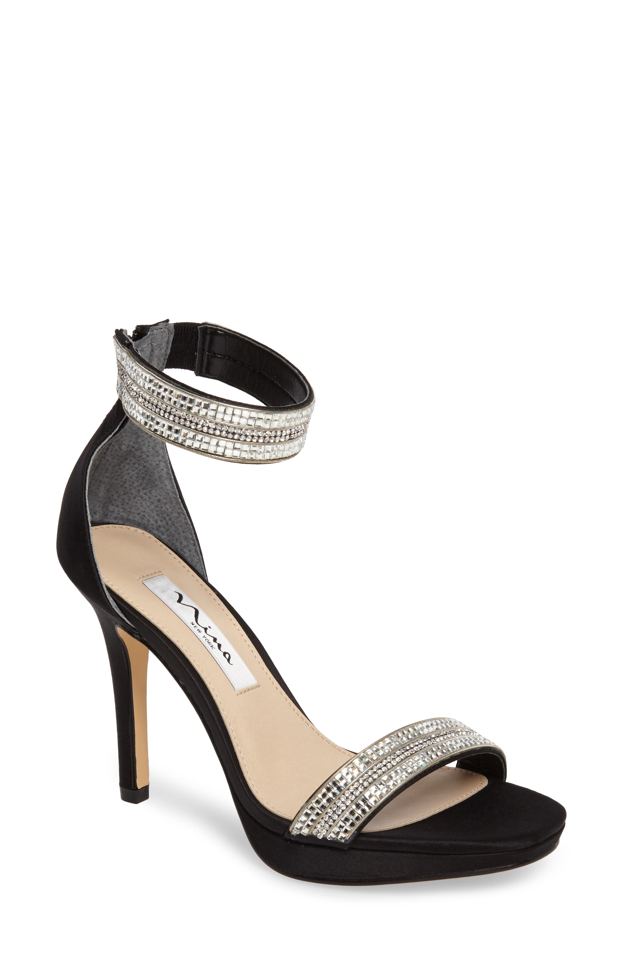 Aubrie Ankle Strap Sandal,                             Main thumbnail 1, color,                             Black Satin