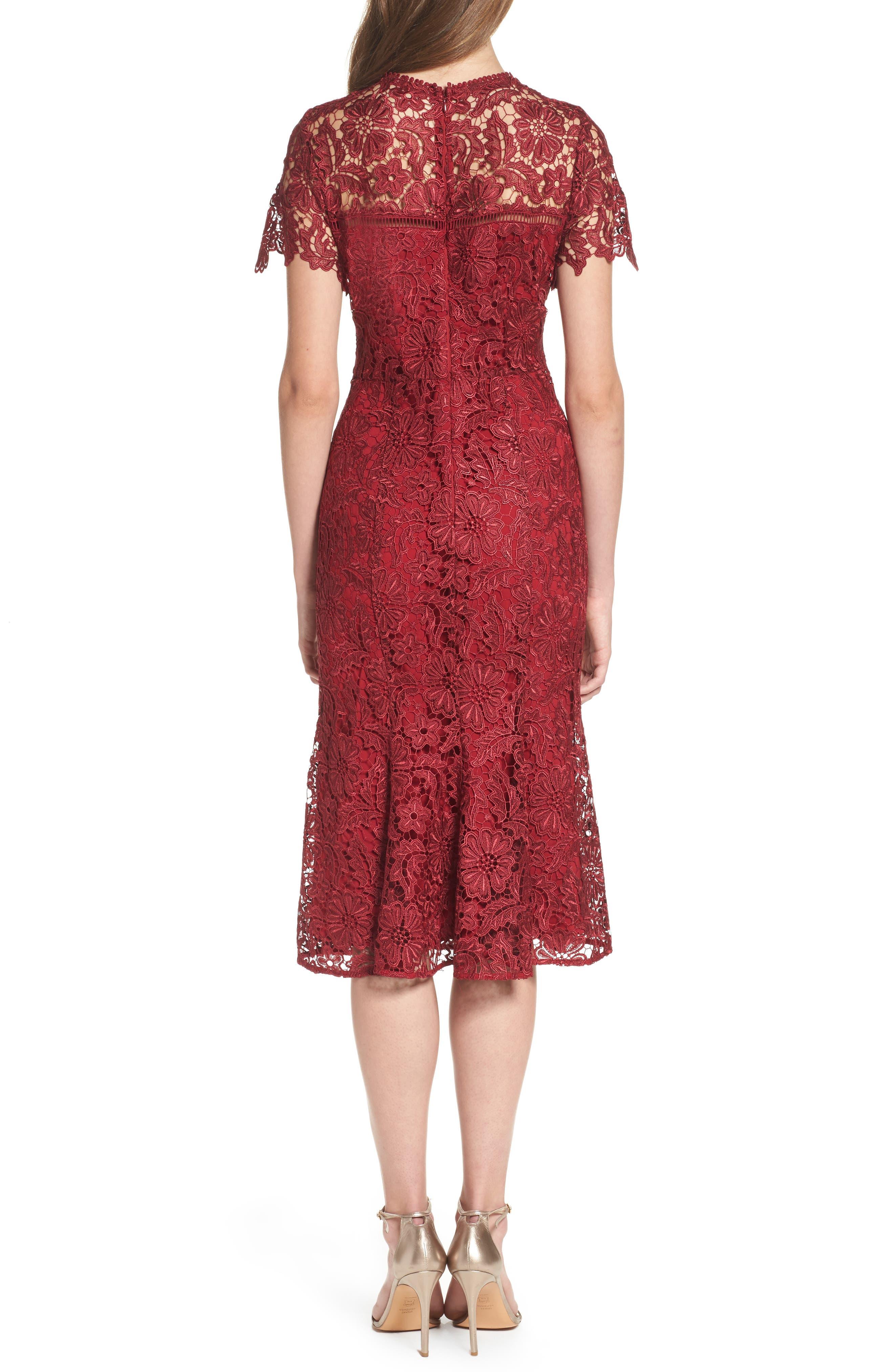 Park Lace Midi Dress,                             Alternate thumbnail 2, color,                             Cranberry