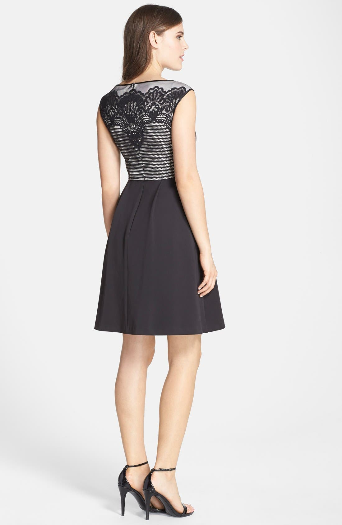 Alternate Image 2  - Adrianna Papell Lace Overlay Fit & Flare Dress