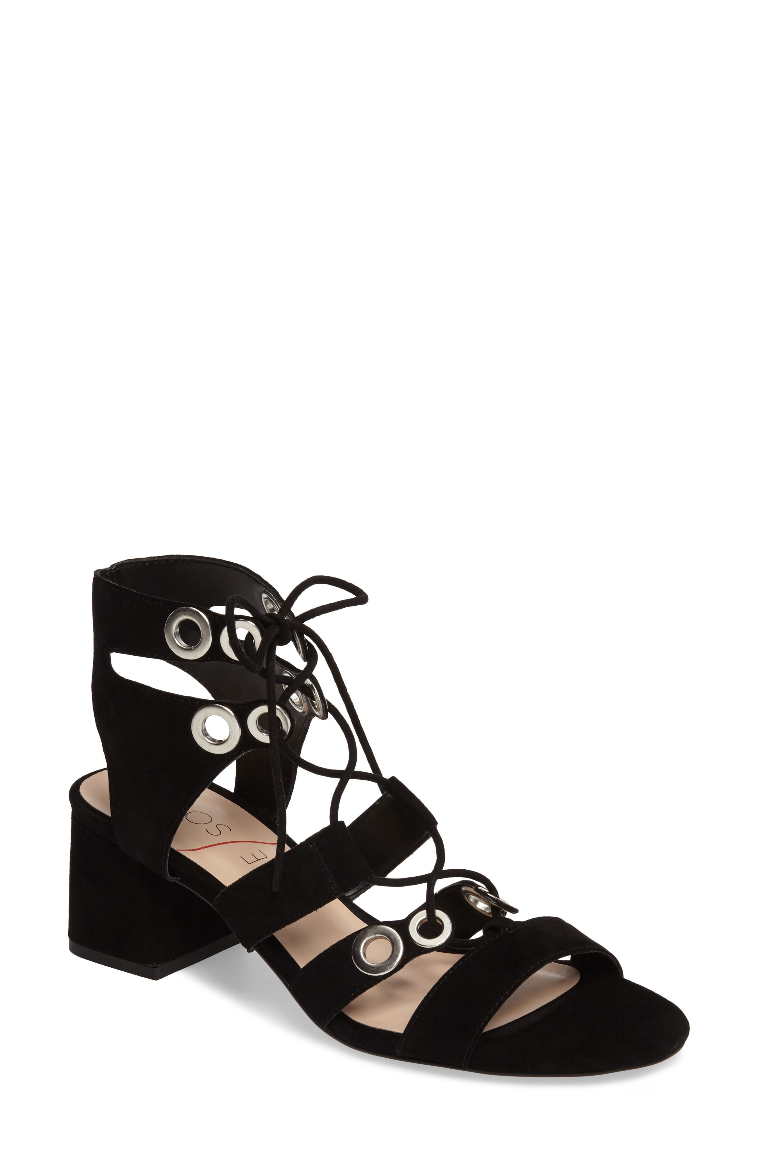 Rosemary Lace-Up Sandal,                             Main thumbnail 1, color,                             Black