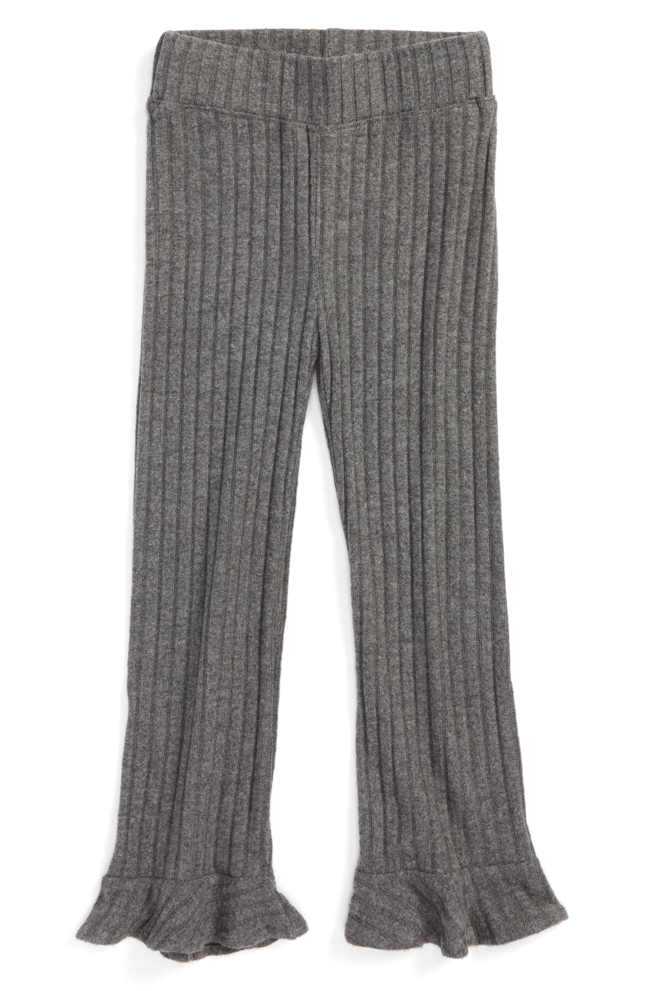 Penny Organic Cotton Flared Ruffle Pants,                             Main thumbnail 1, color,                             Charcoal Rib