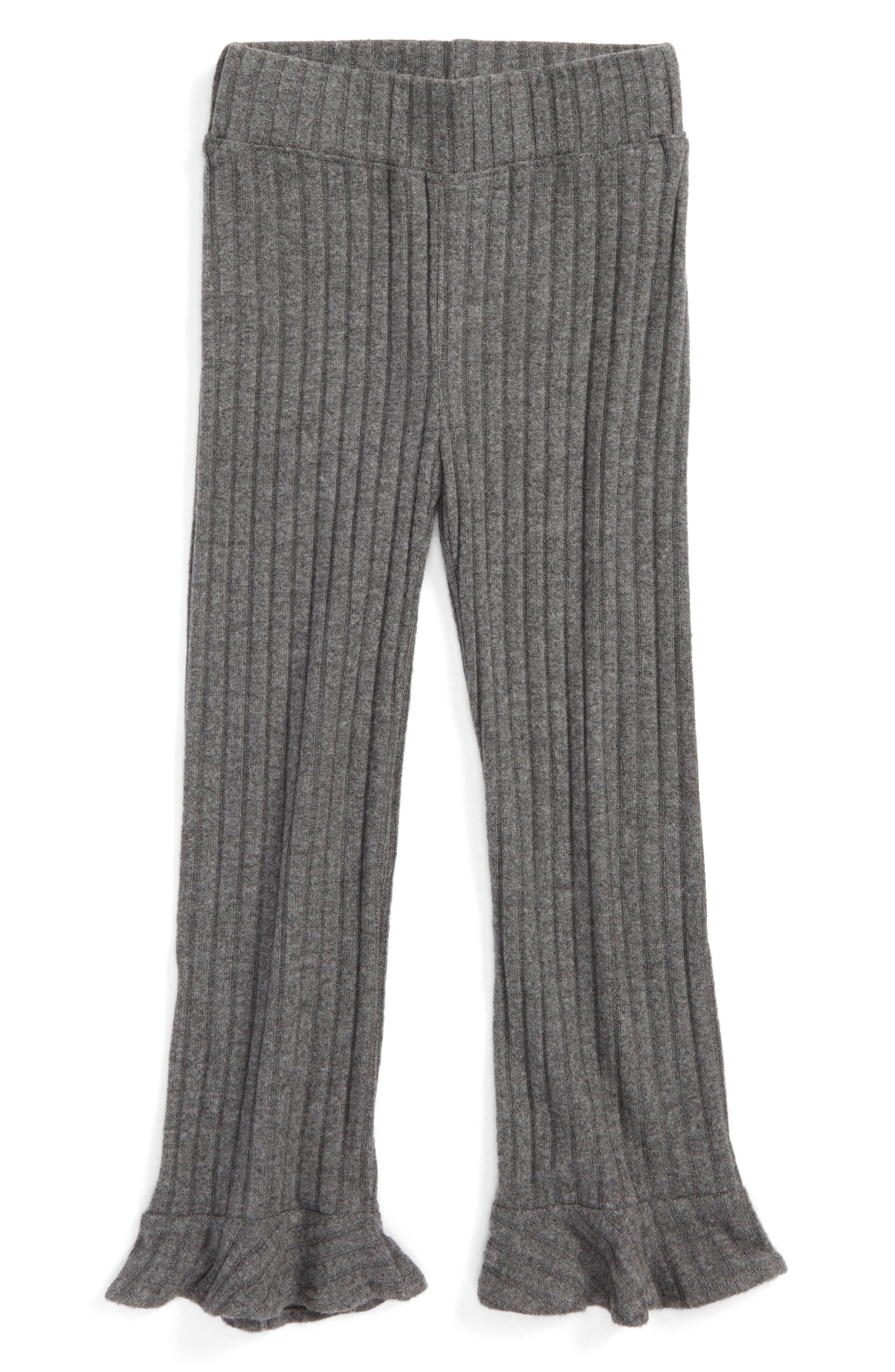 Penny Organic Cotton Flared Ruffle Pants,                         Main,                         color, Charcoal Rib