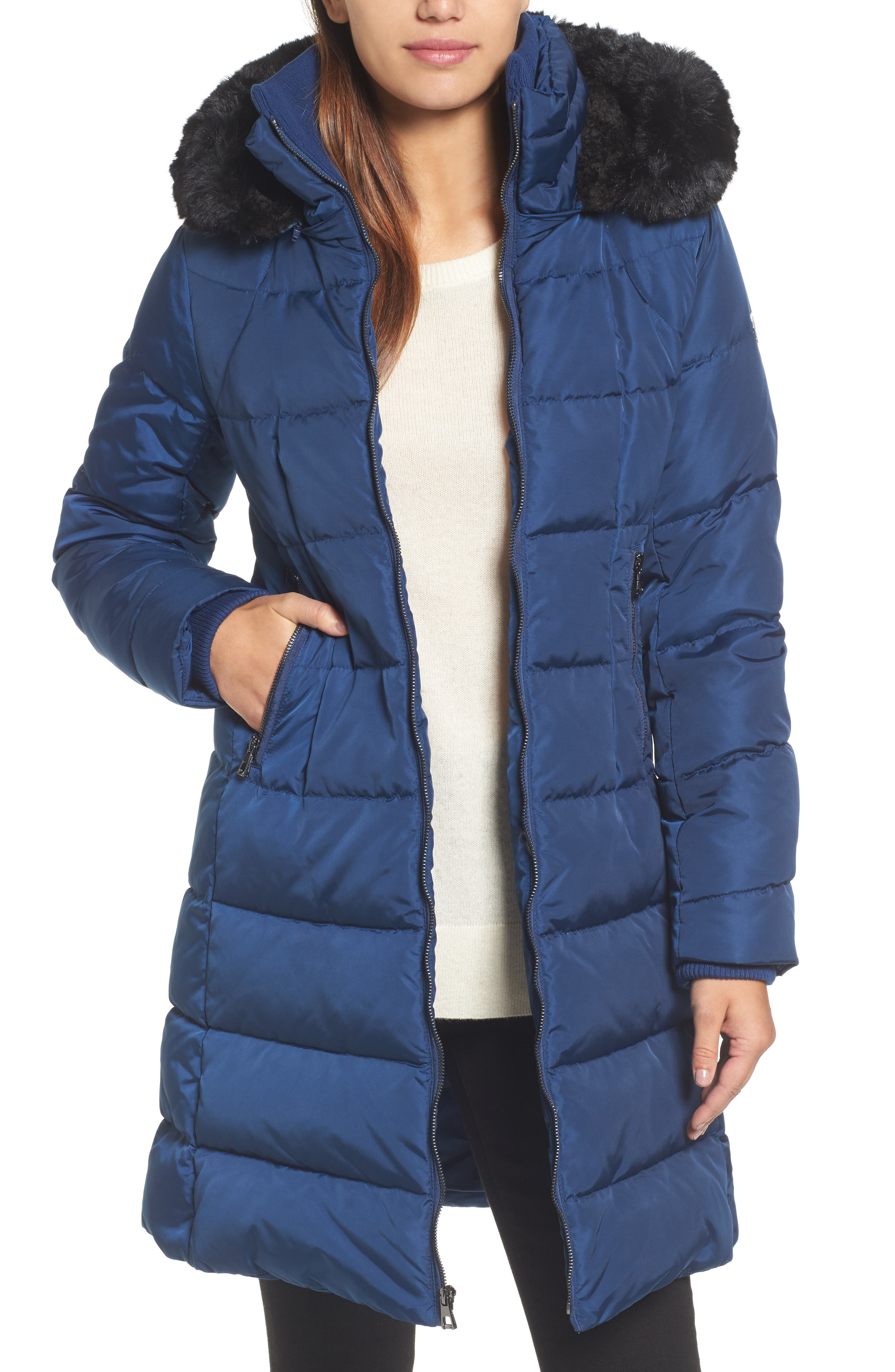 Down & Feather Fill Coat with Faux Fur Trim Hood,                         Main,                         color, Sapphire
