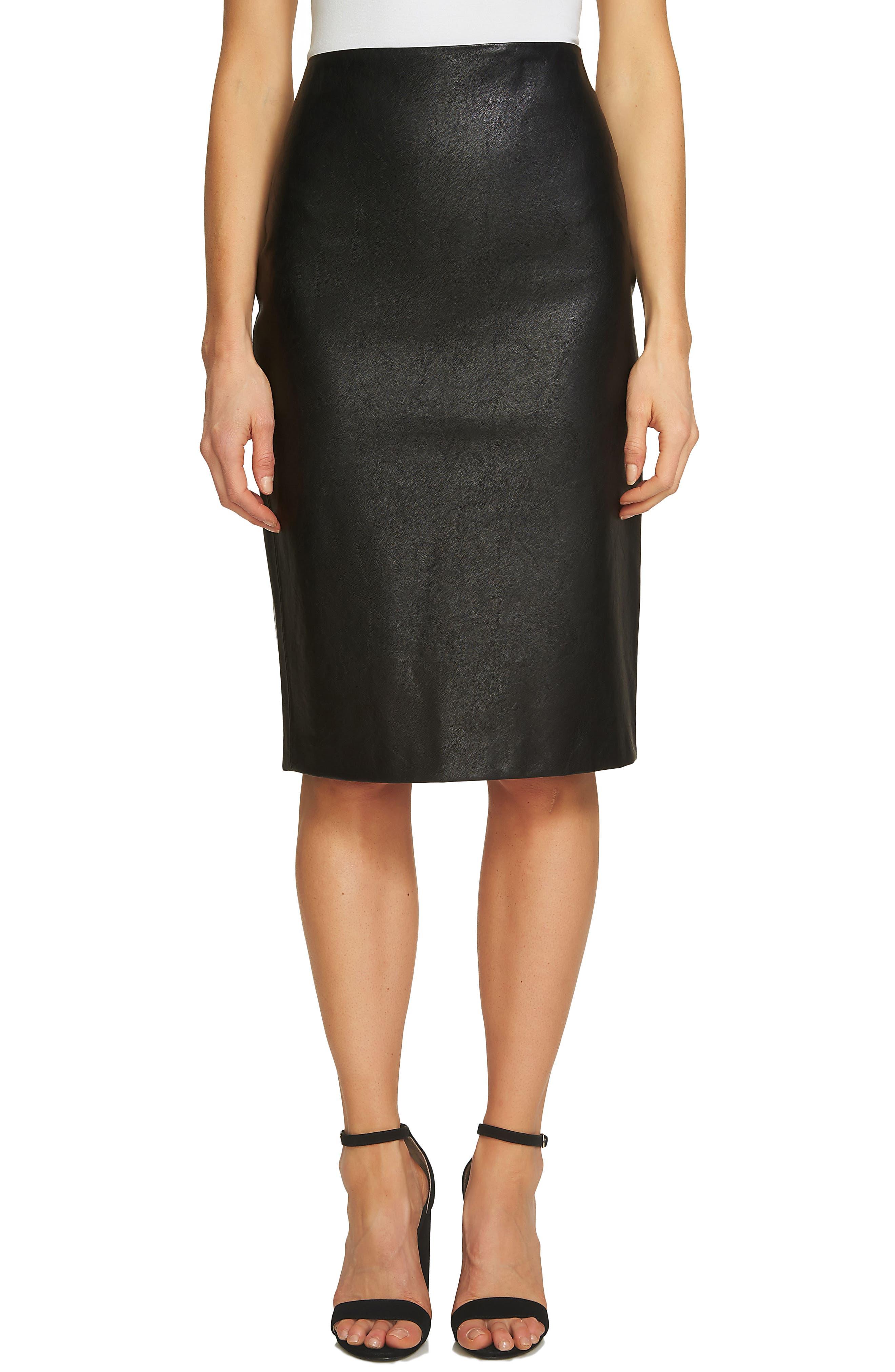 Faux Leather Pencil Skirt,                         Main,                         color, Rich Black
