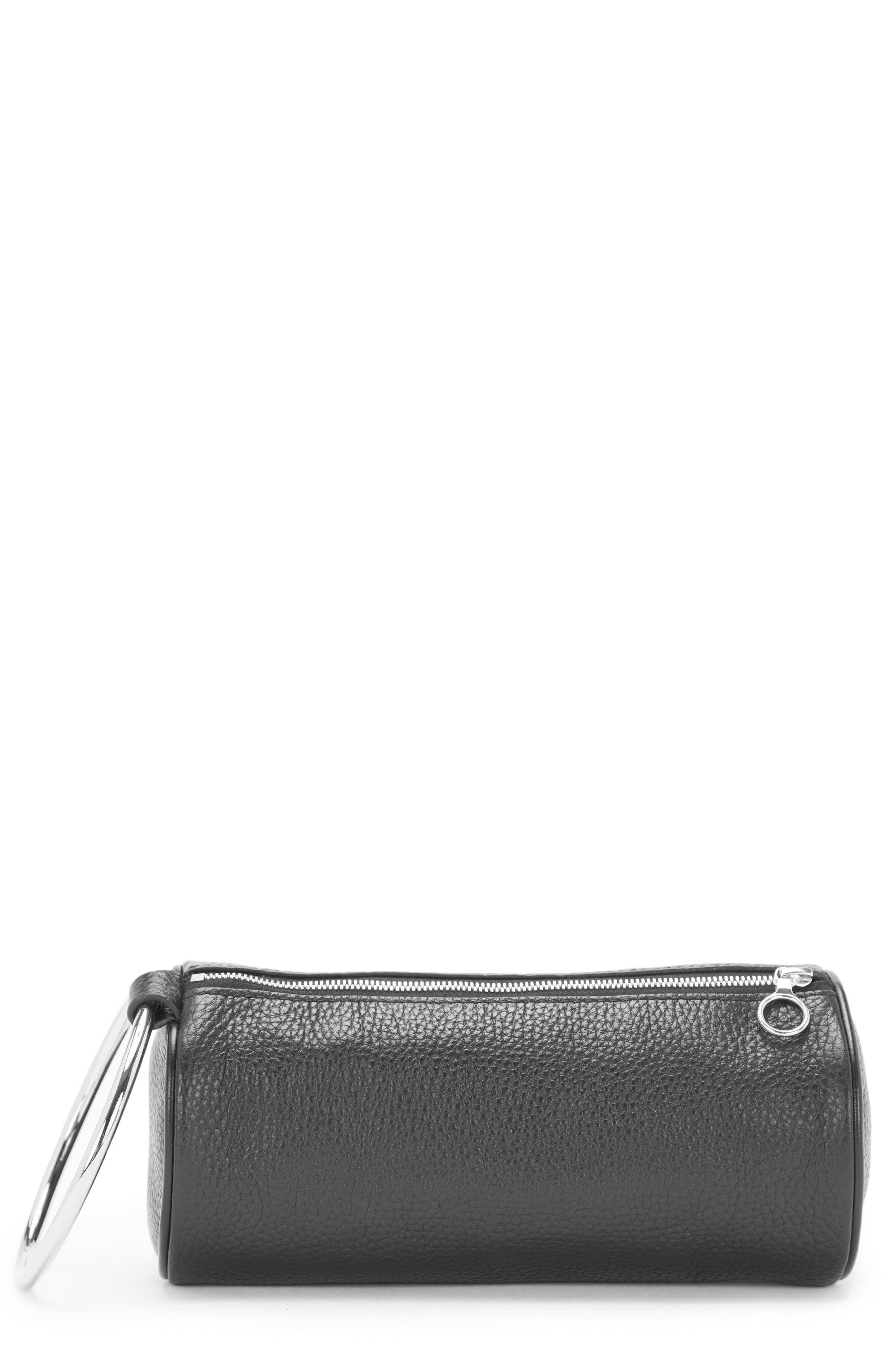 Pebbled Leather Duffel Wristlet Clutch,                         Main,                         color, Black