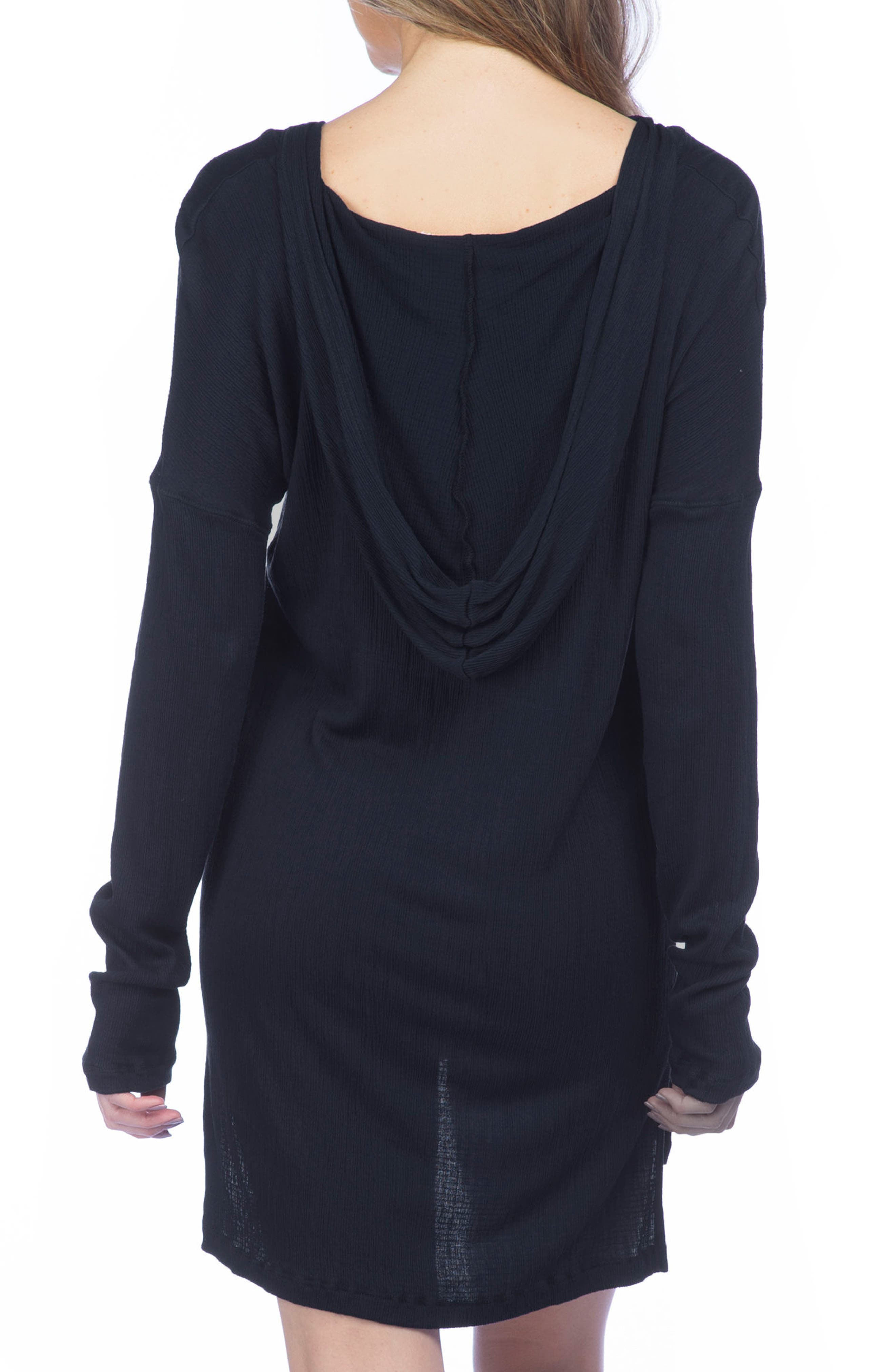 Hooded Cover-Up Pullover,                             Alternate thumbnail 2, color,                             Black
