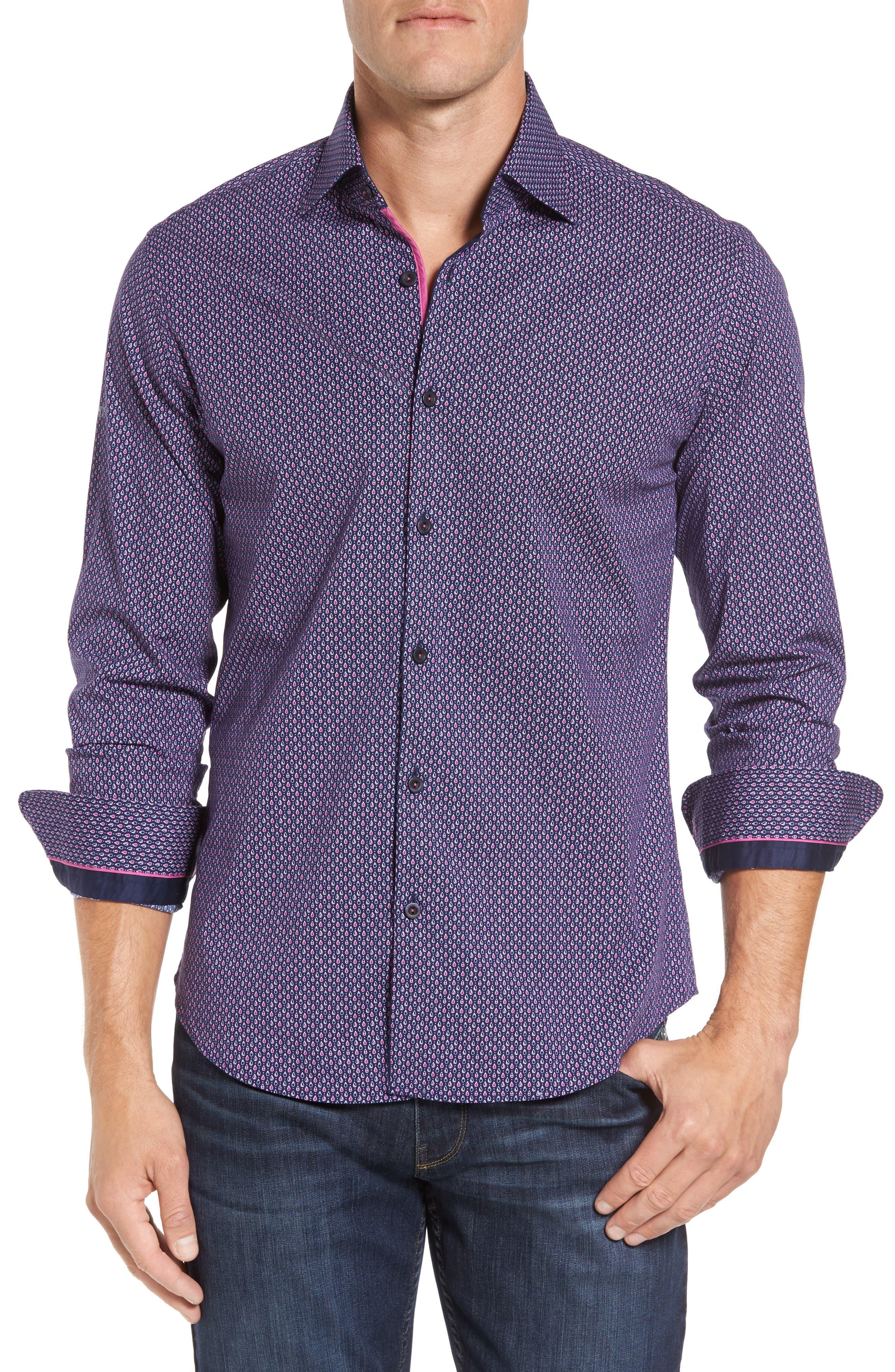 Slim Fit Teardrop Print Sport Shirt,                         Main,                         color, Berry