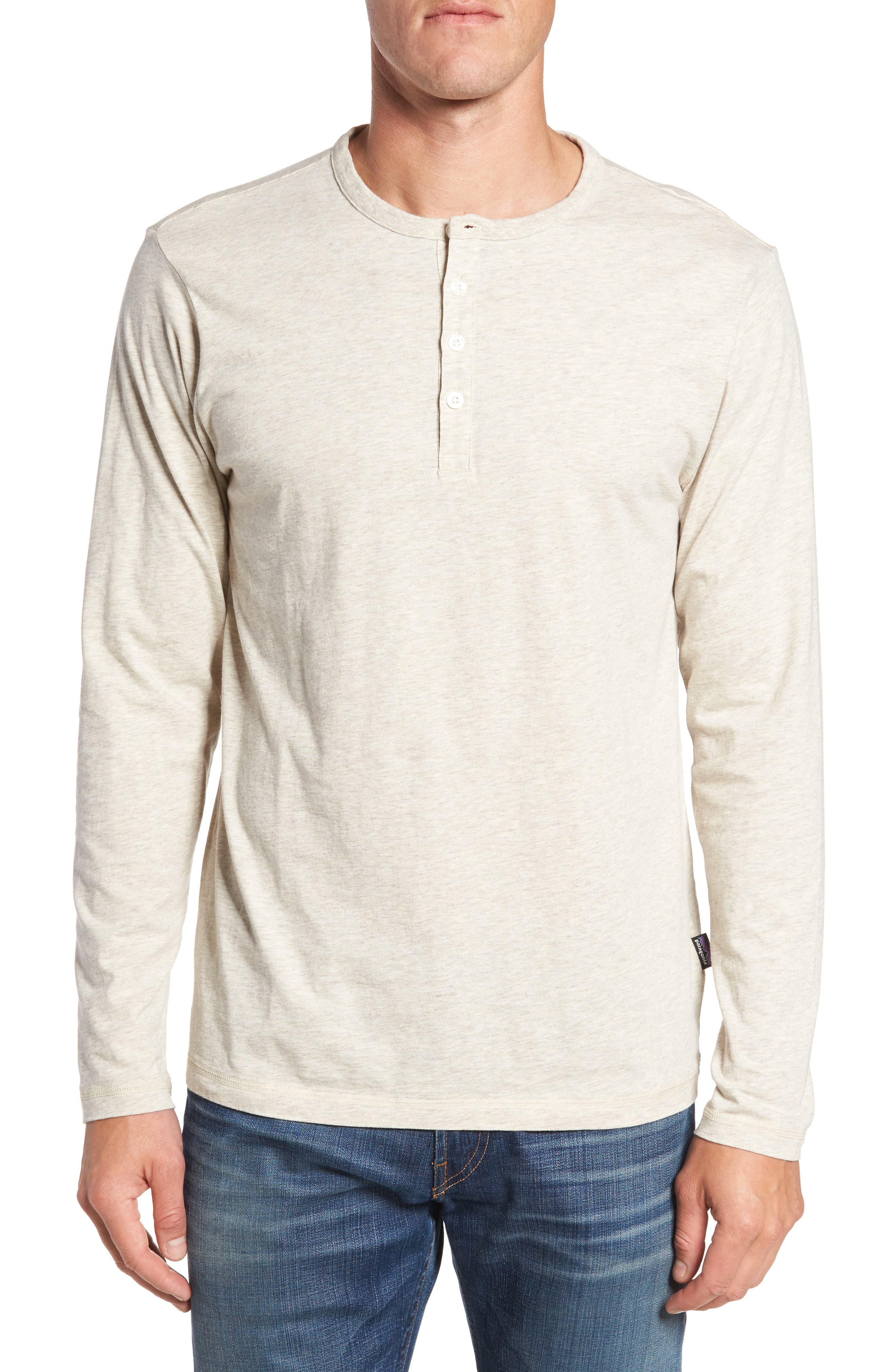 'Daily' Long Sleeve Organic Cotton Henley,                         Main,                         color, Birch White