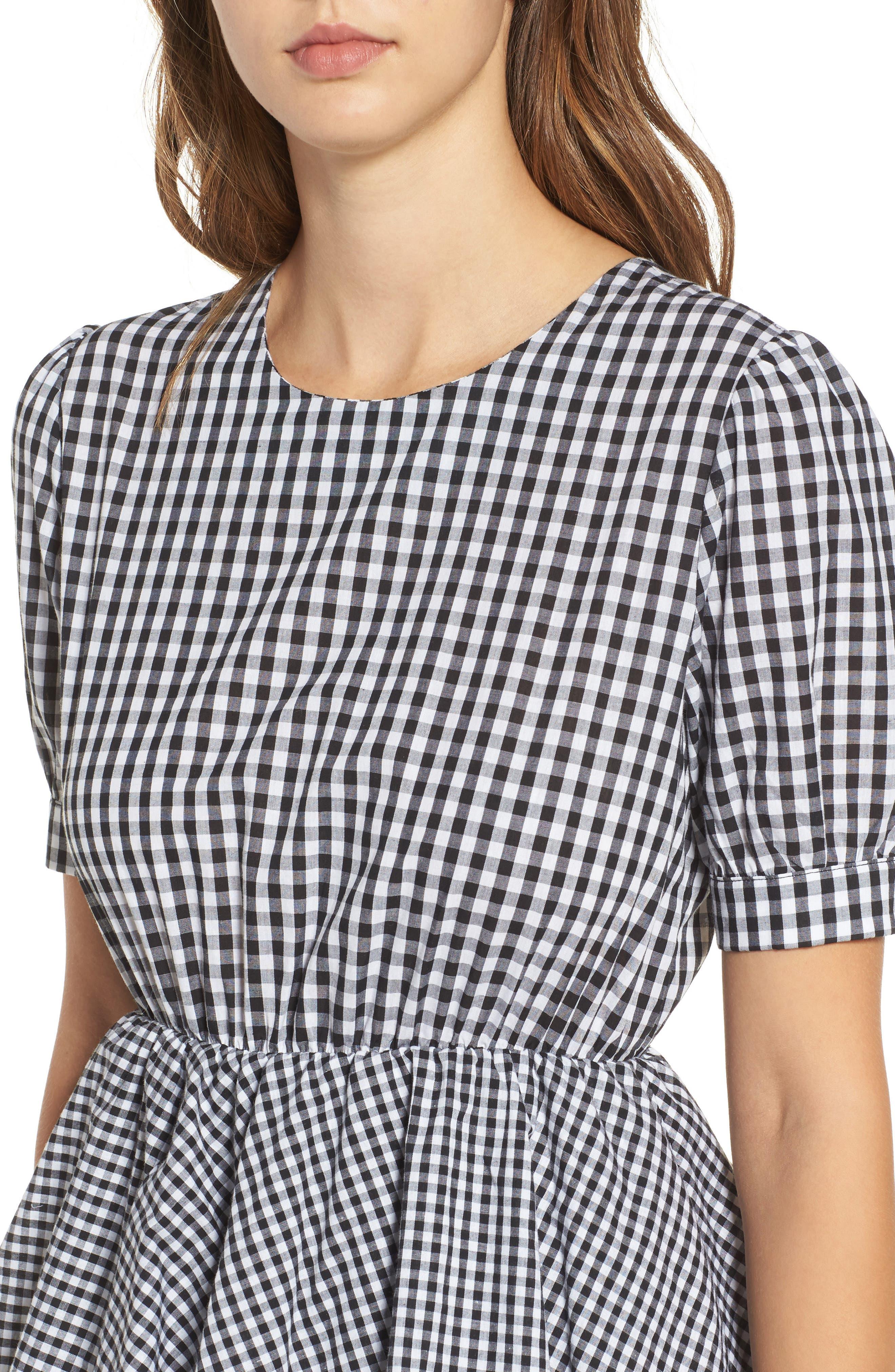 Beauty Buzz Midi Dress,                             Alternate thumbnail 4, color,                             Checkered Black