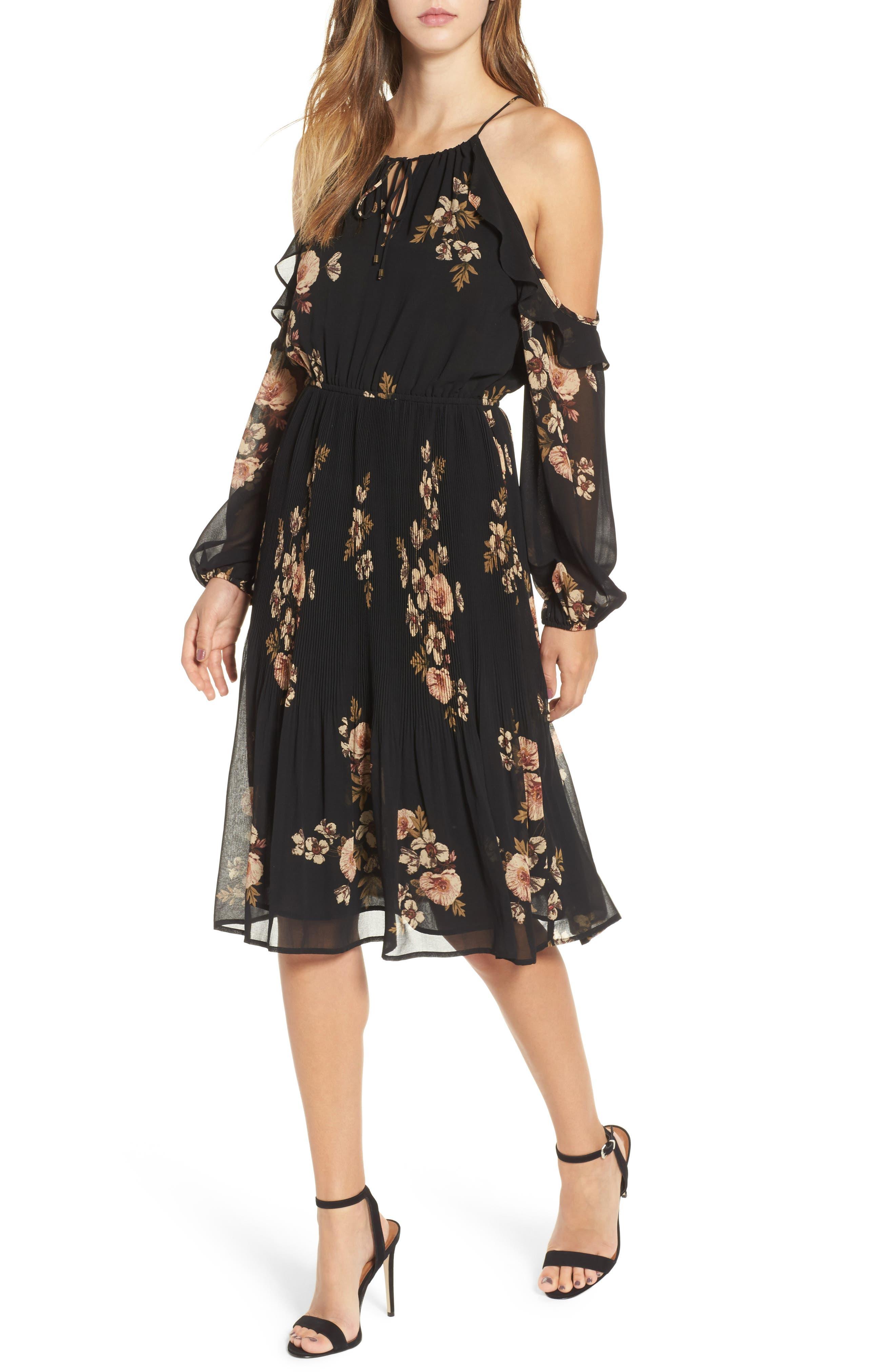 Persephone Cold Shoulder Dress,                         Main,                         color, Black-Pink Floral