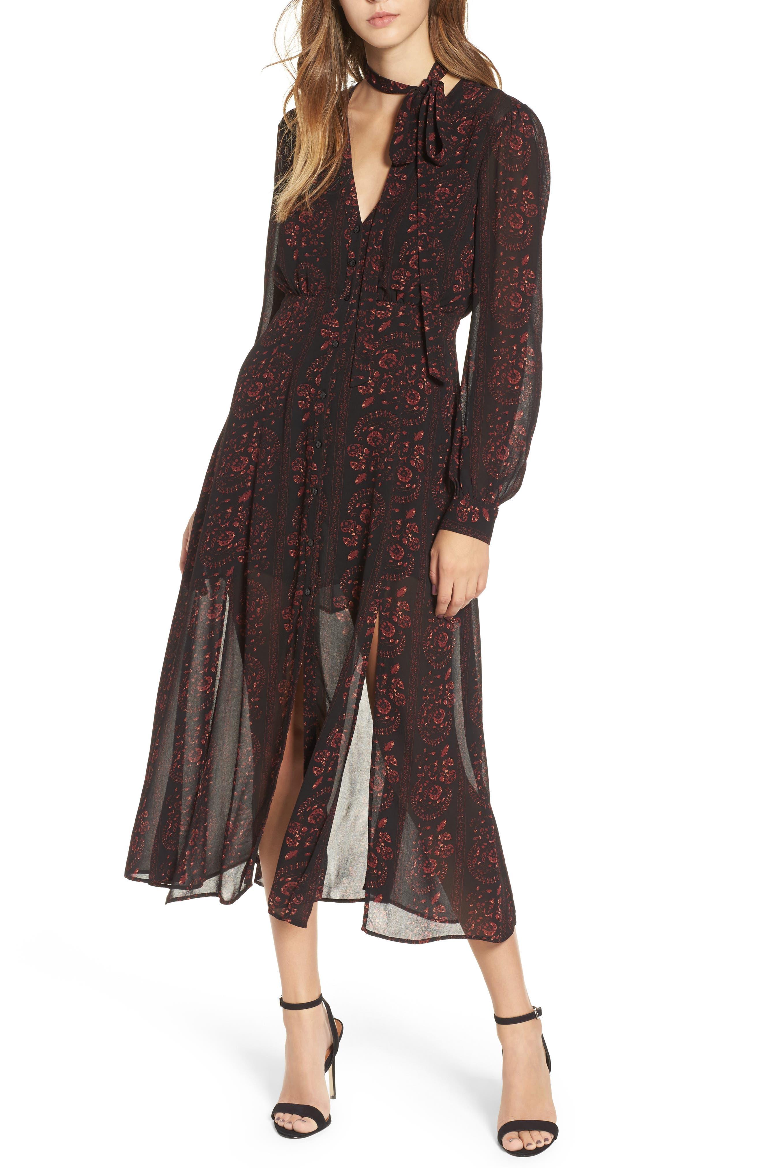 Natalie Midi Dress,                         Main,                         color, Black-Wine Floral