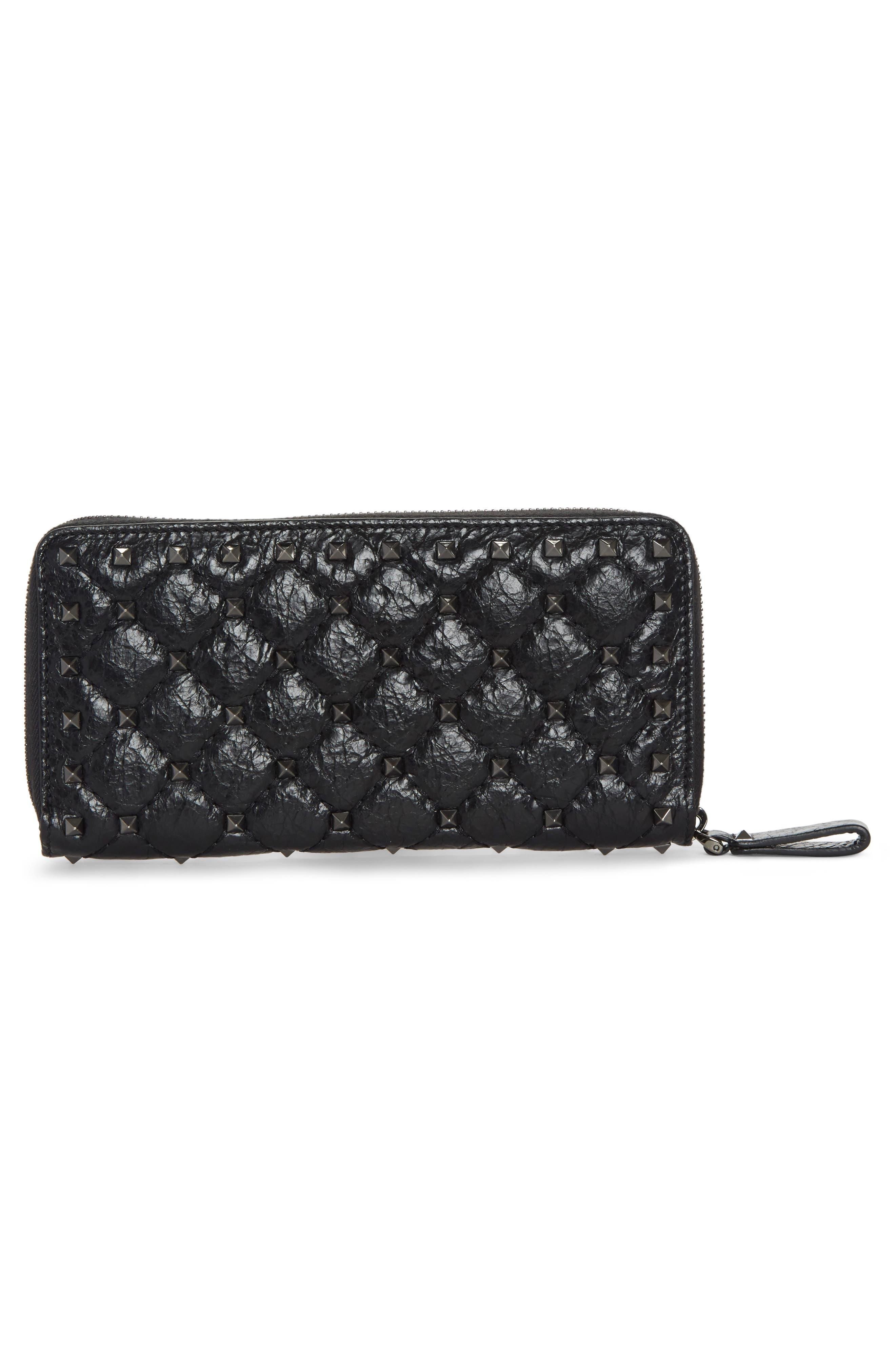 Rockstud Spike Matelassé Leather Continental Wallet,                             Alternate thumbnail 3, color,                             Black