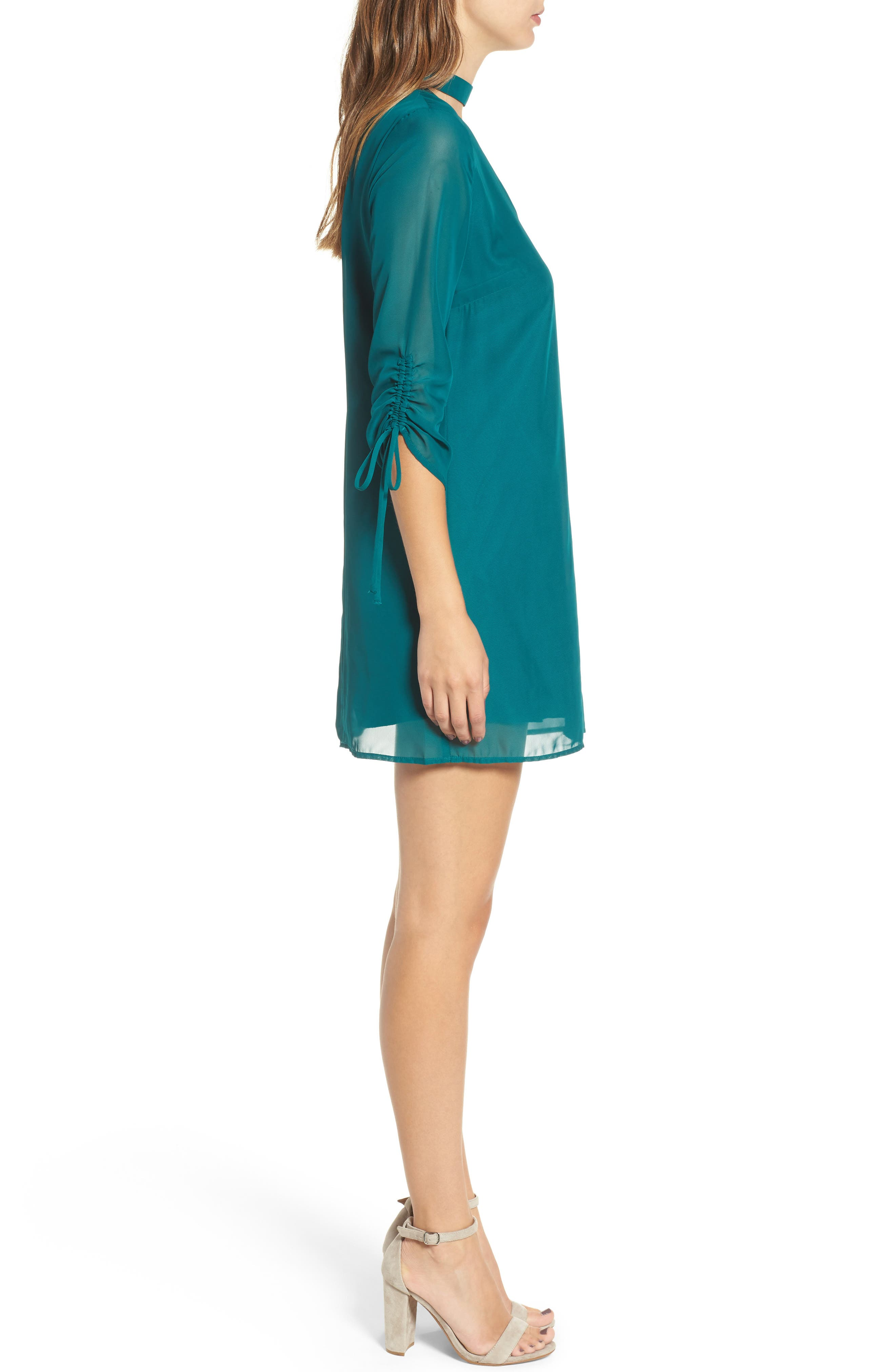 Gigi Choker Shift Dress,                             Alternate thumbnail 3, color,                             Light Jade