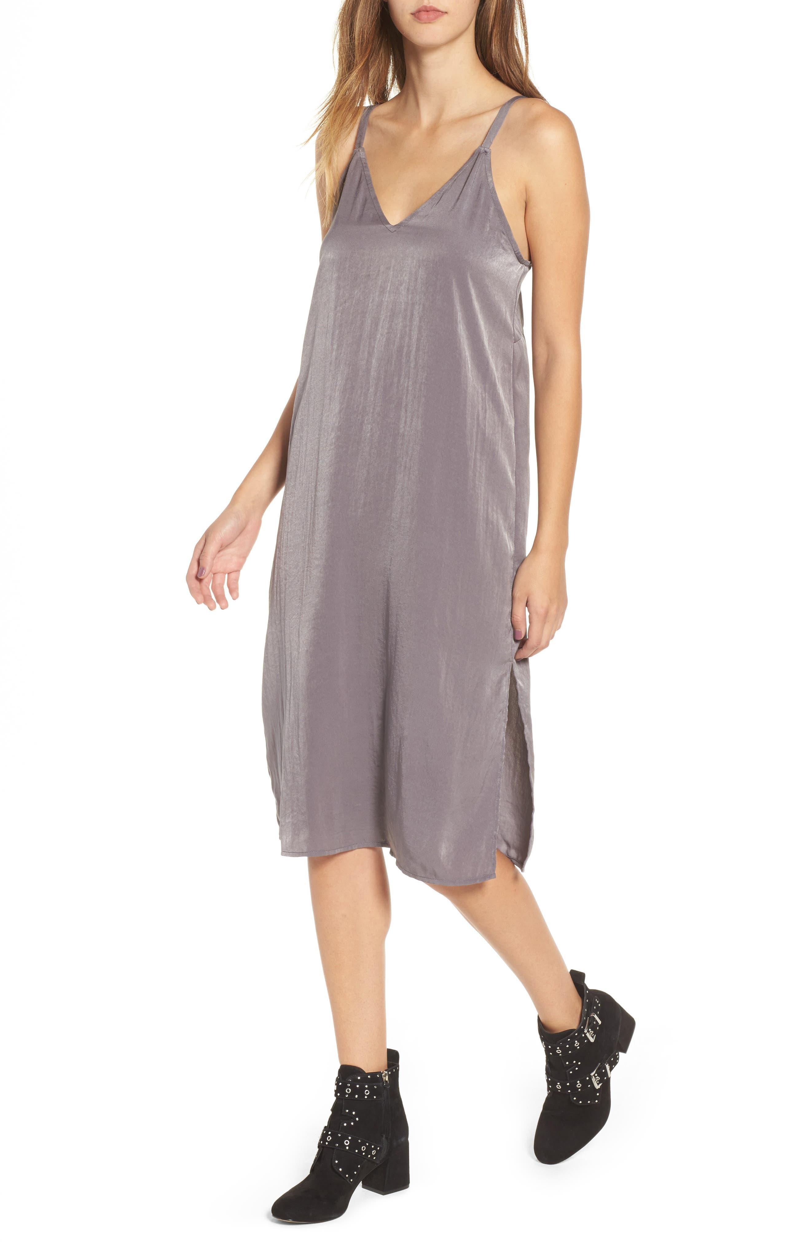 Satin Midi Slipdress,                         Main,                         color, Dark Grey