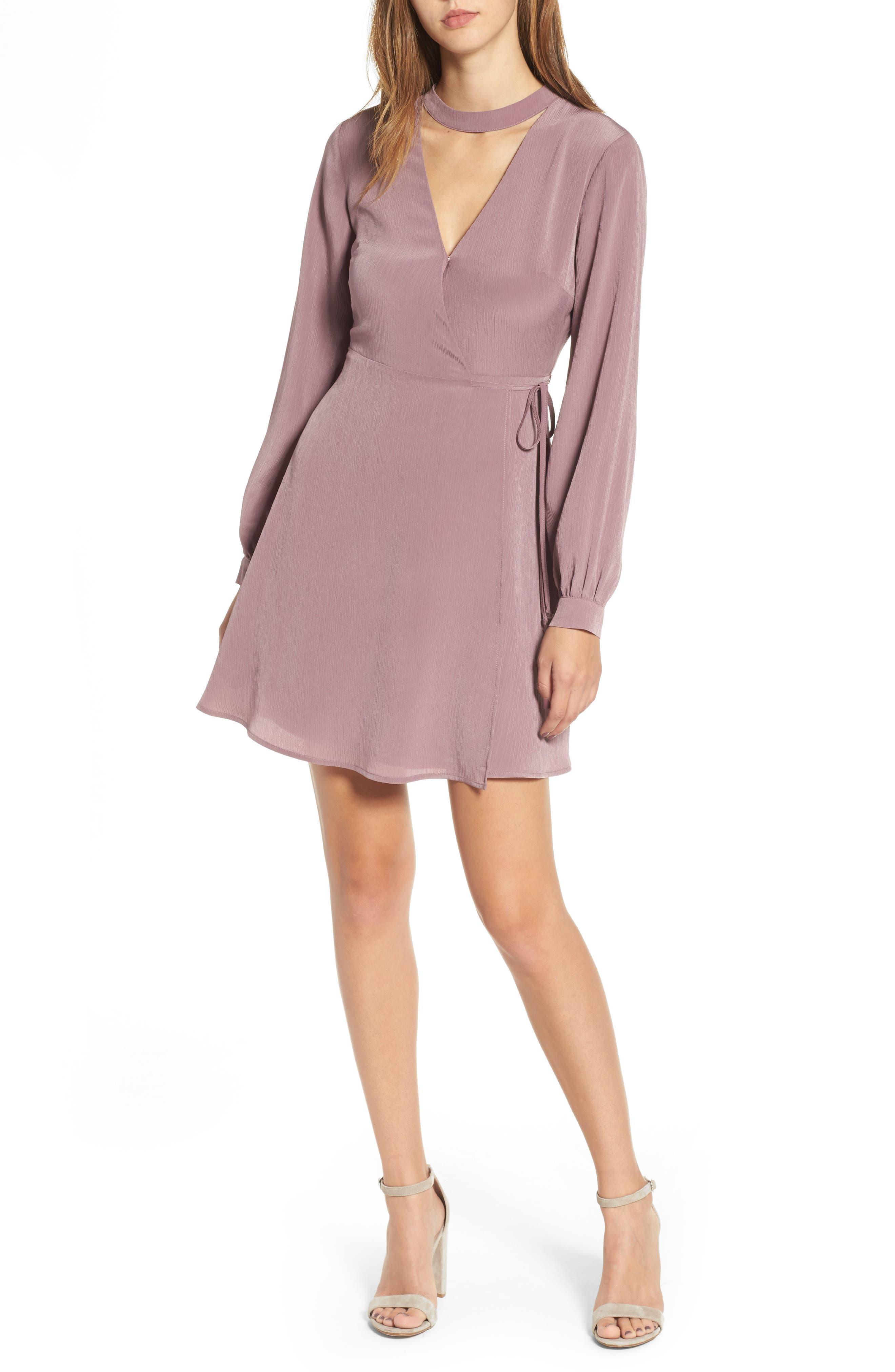 Main Image - Choker Neck Wrap Dress
