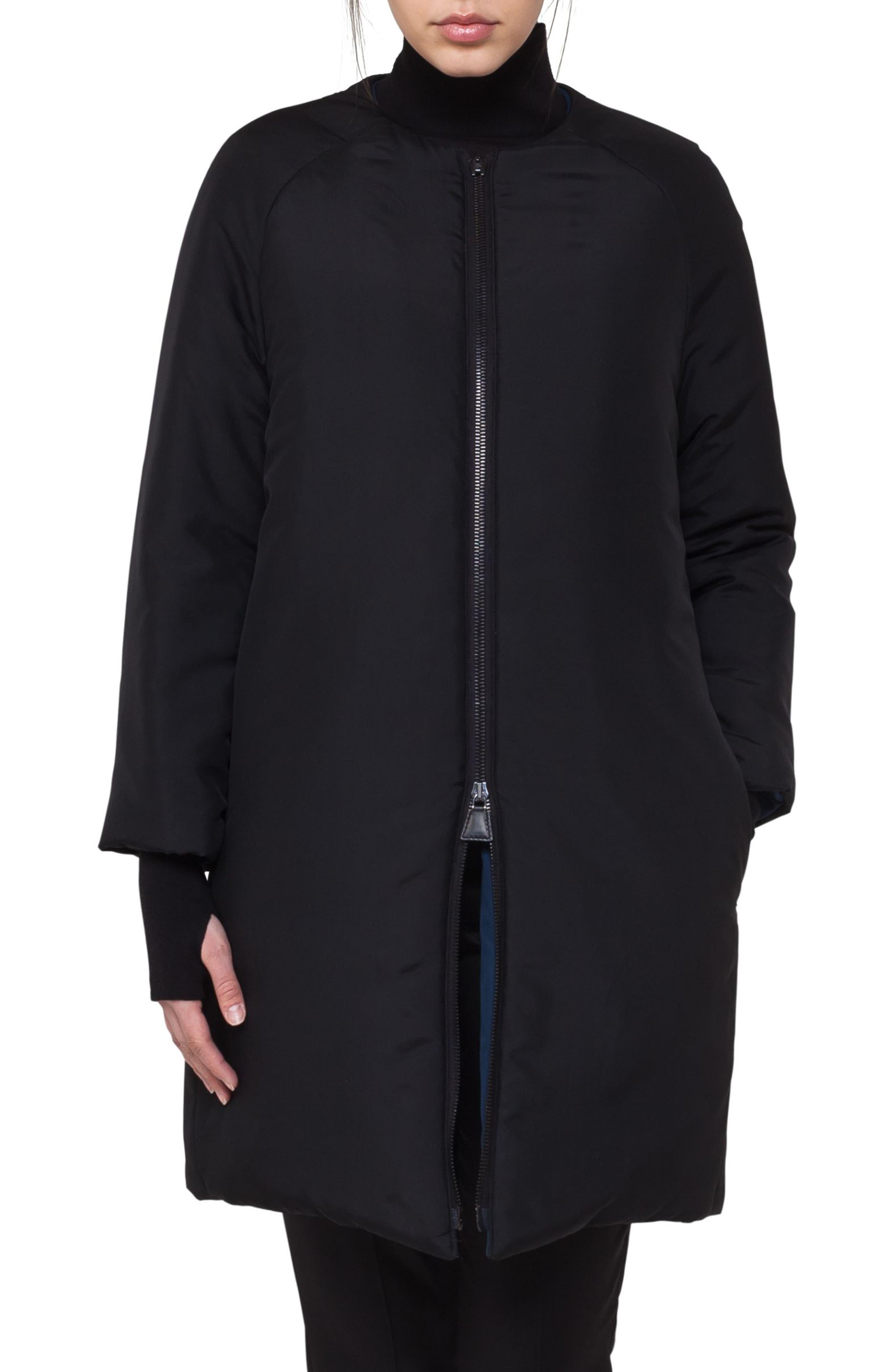 Reversible Techno Puffer Coat,                         Main,                         color, Black-Denim