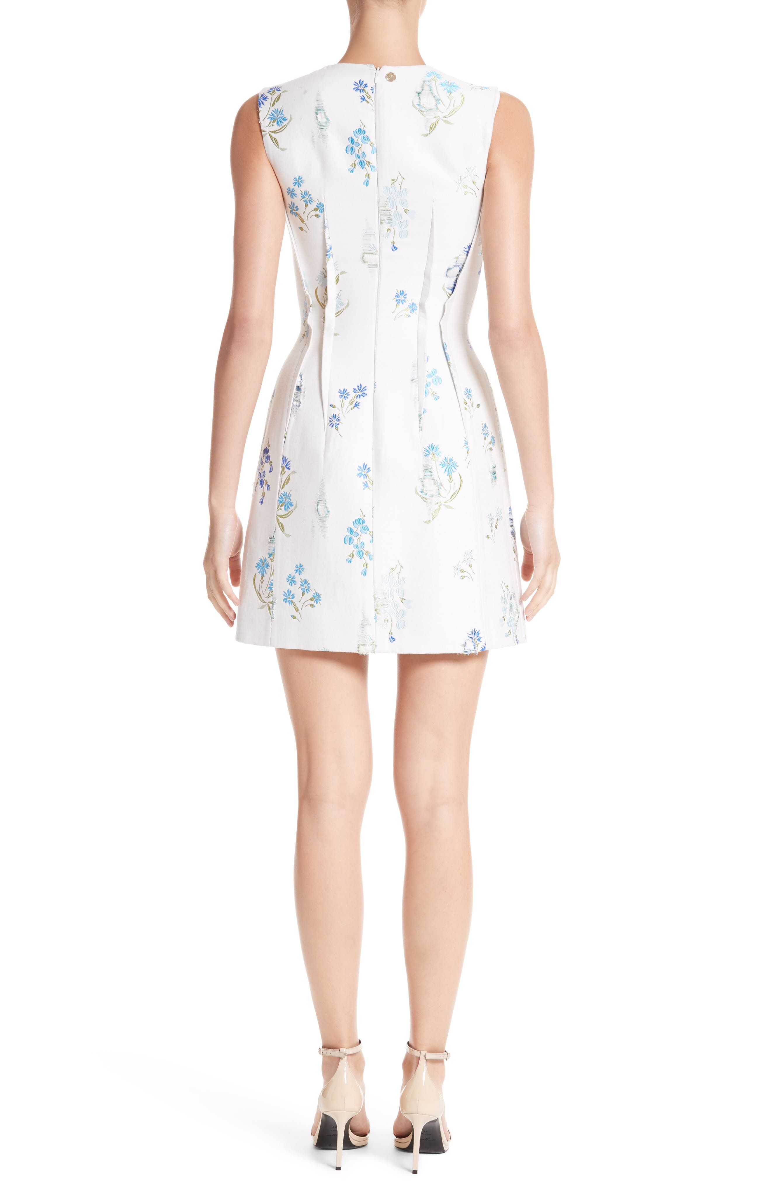 Alternate Image 2  - Versace Collection Distressed Floral Jacquard Fit & Flare Dress