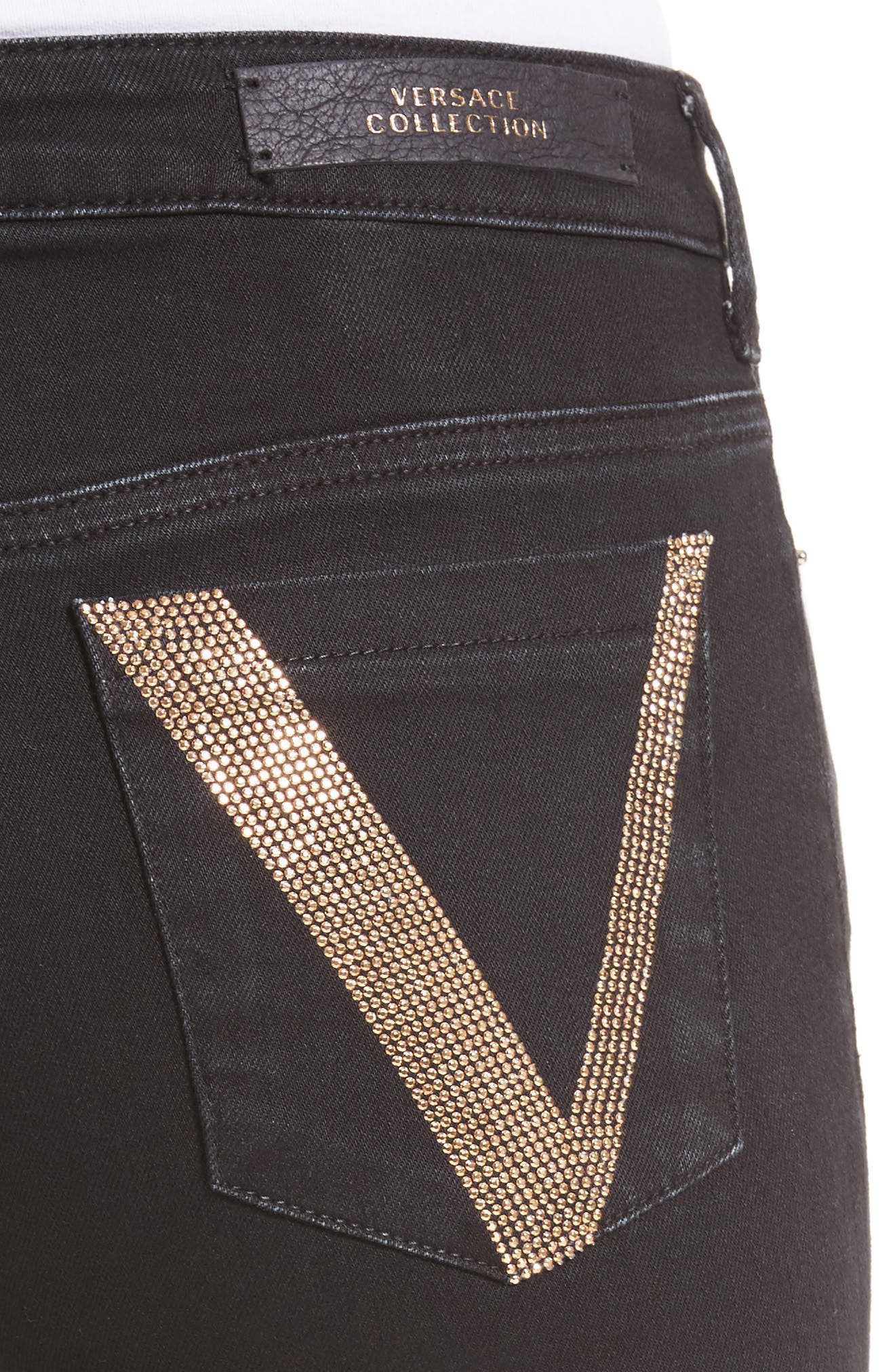 Embellished Pocket Skinny Jeans,                             Alternate thumbnail 4, color,                             Black
