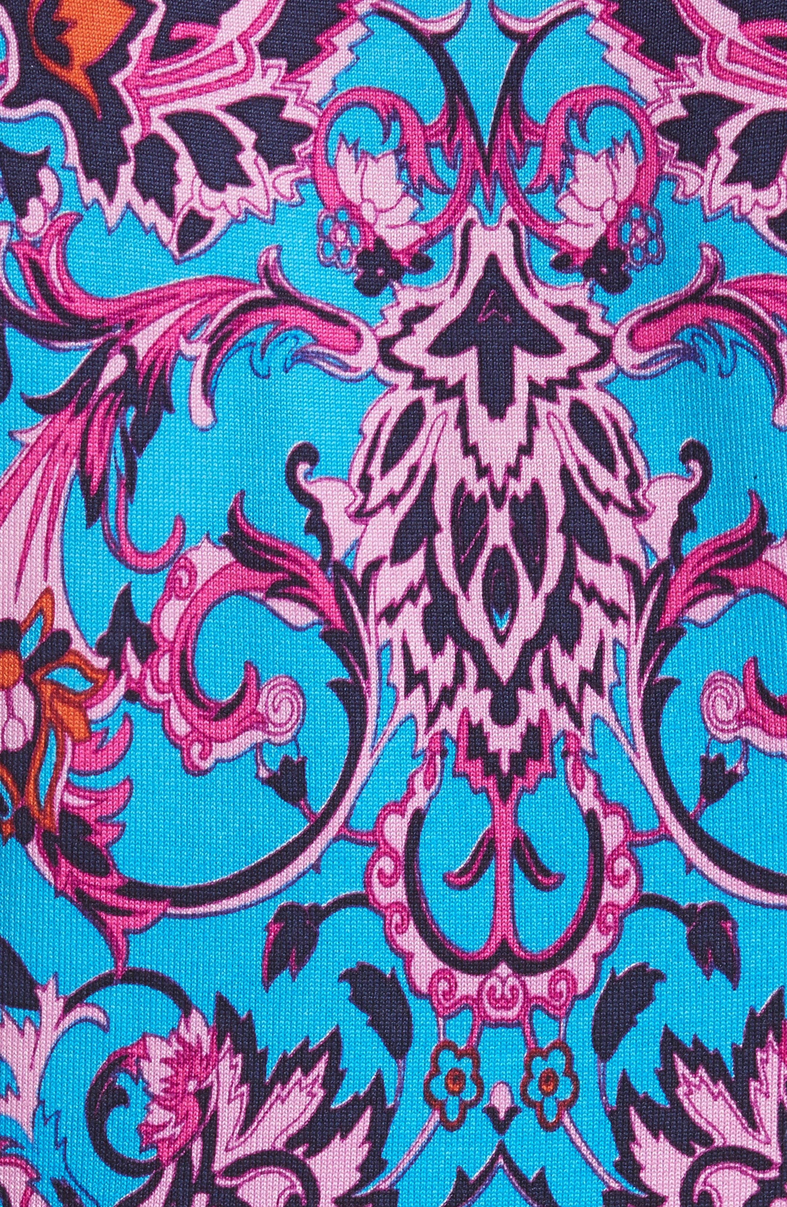 Print Silk Blend Top,                             Alternate thumbnail 5, color,                             Cobalt/ Print