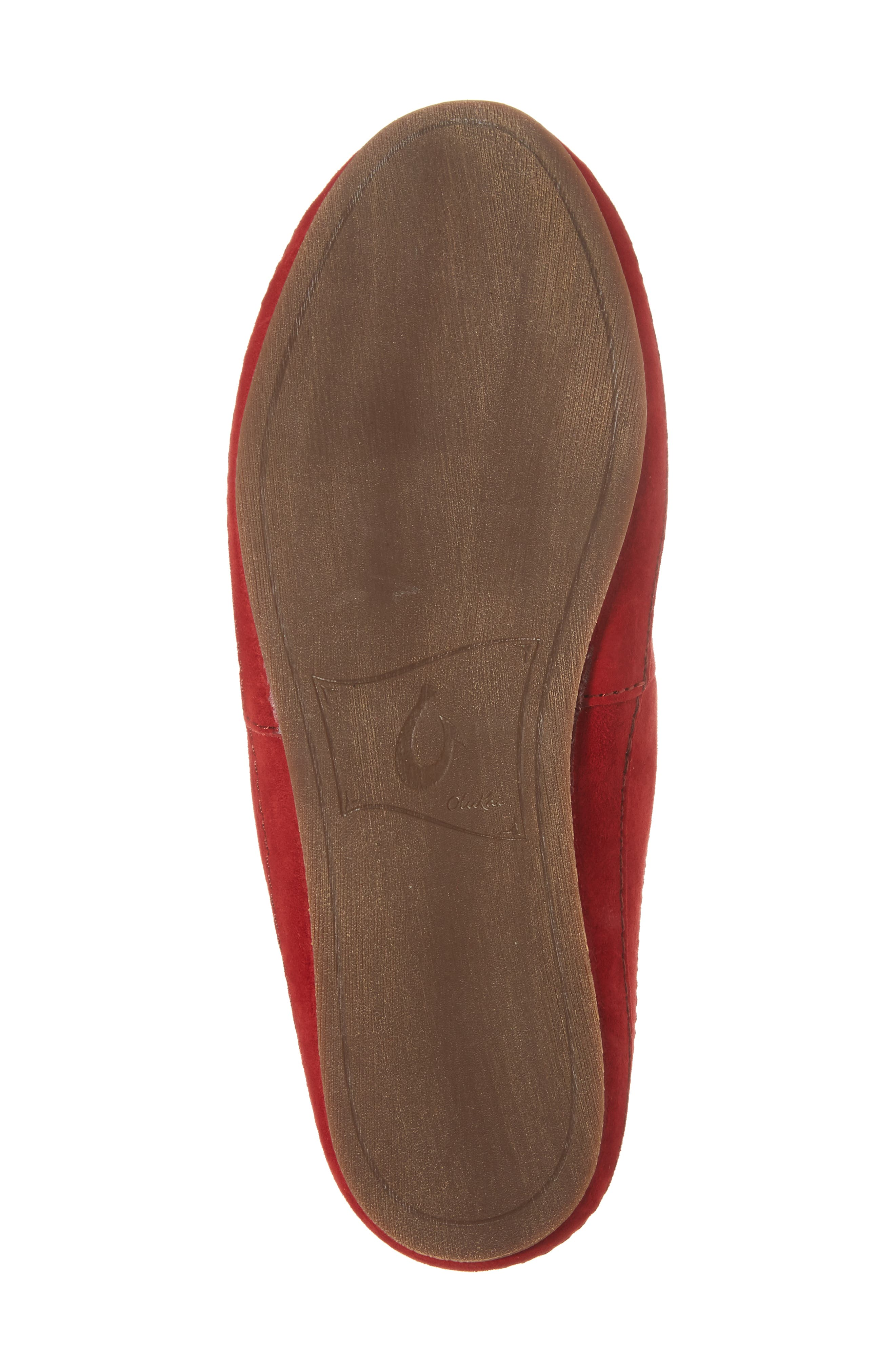 Alaula Genuine Shearling Lined Slipper,                             Alternate thumbnail 6, color,                             Cooler Grey/ Red Mud Leather