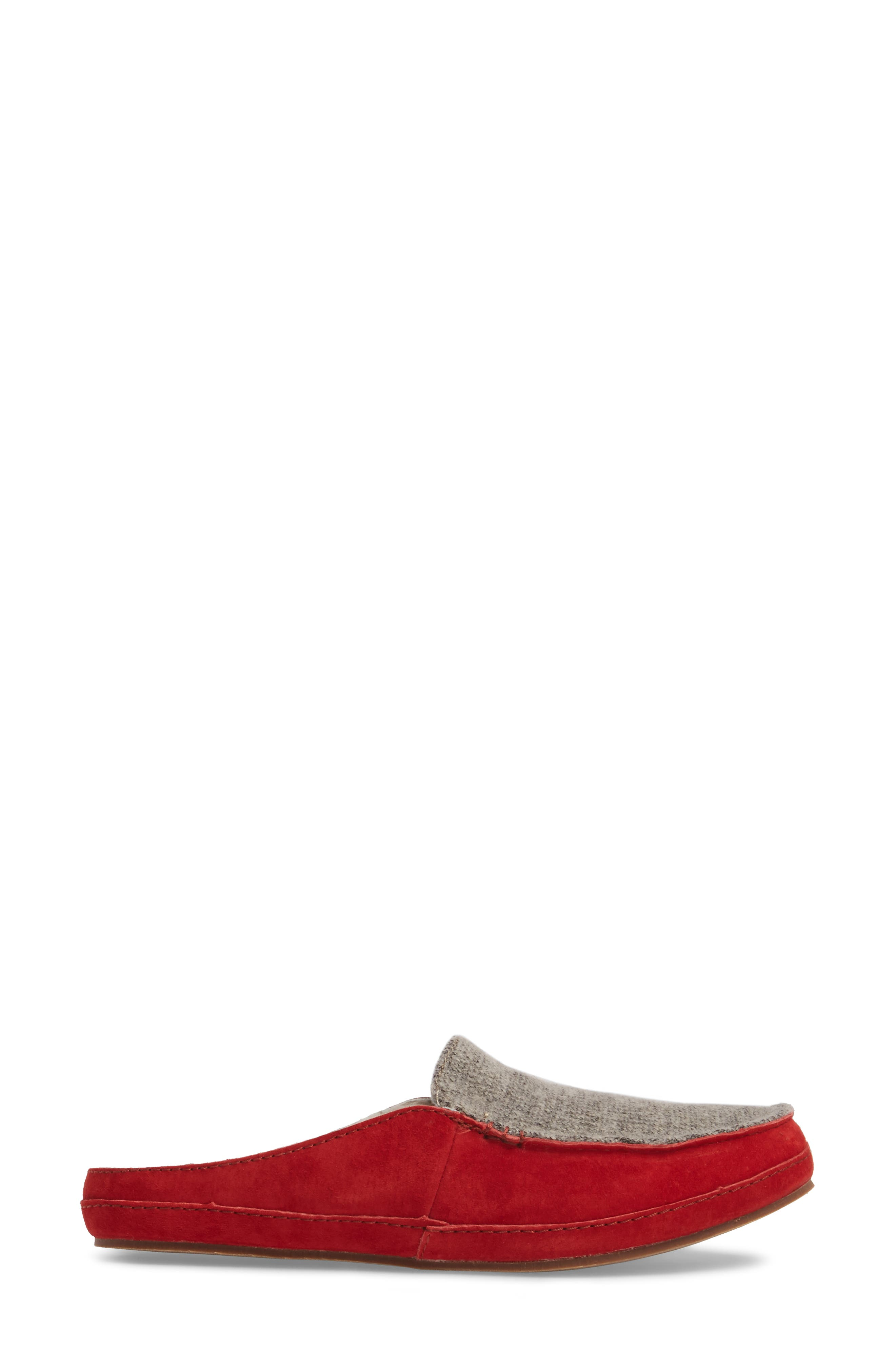 Alaula Genuine Shearling Lined Slipper,                             Alternate thumbnail 3, color,                             Cooler Grey/ Red Mud Leather