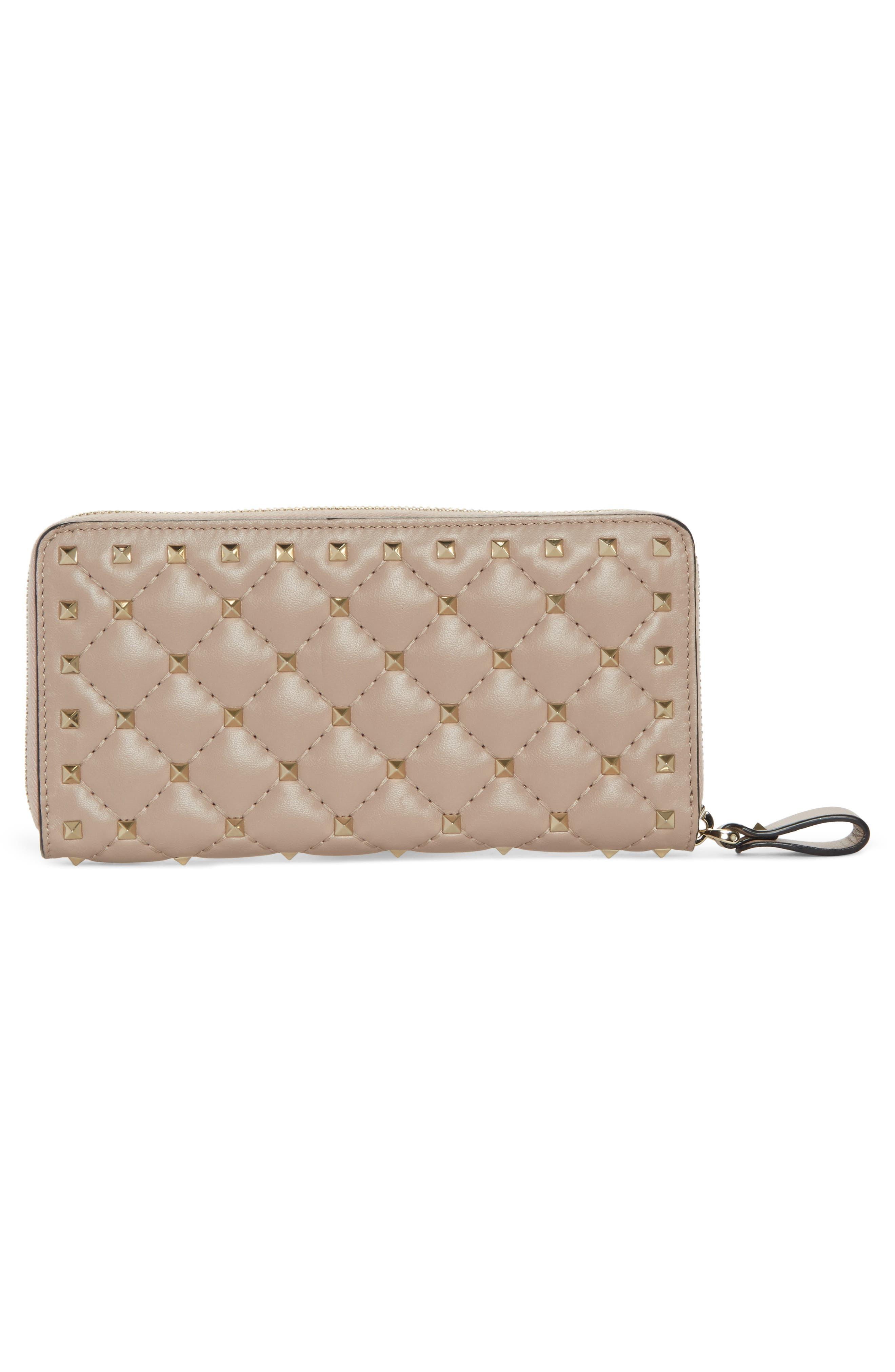 Rockstud Spike Matelassé Leather Continental Wallet,                             Alternate thumbnail 2, color,                             Poudre