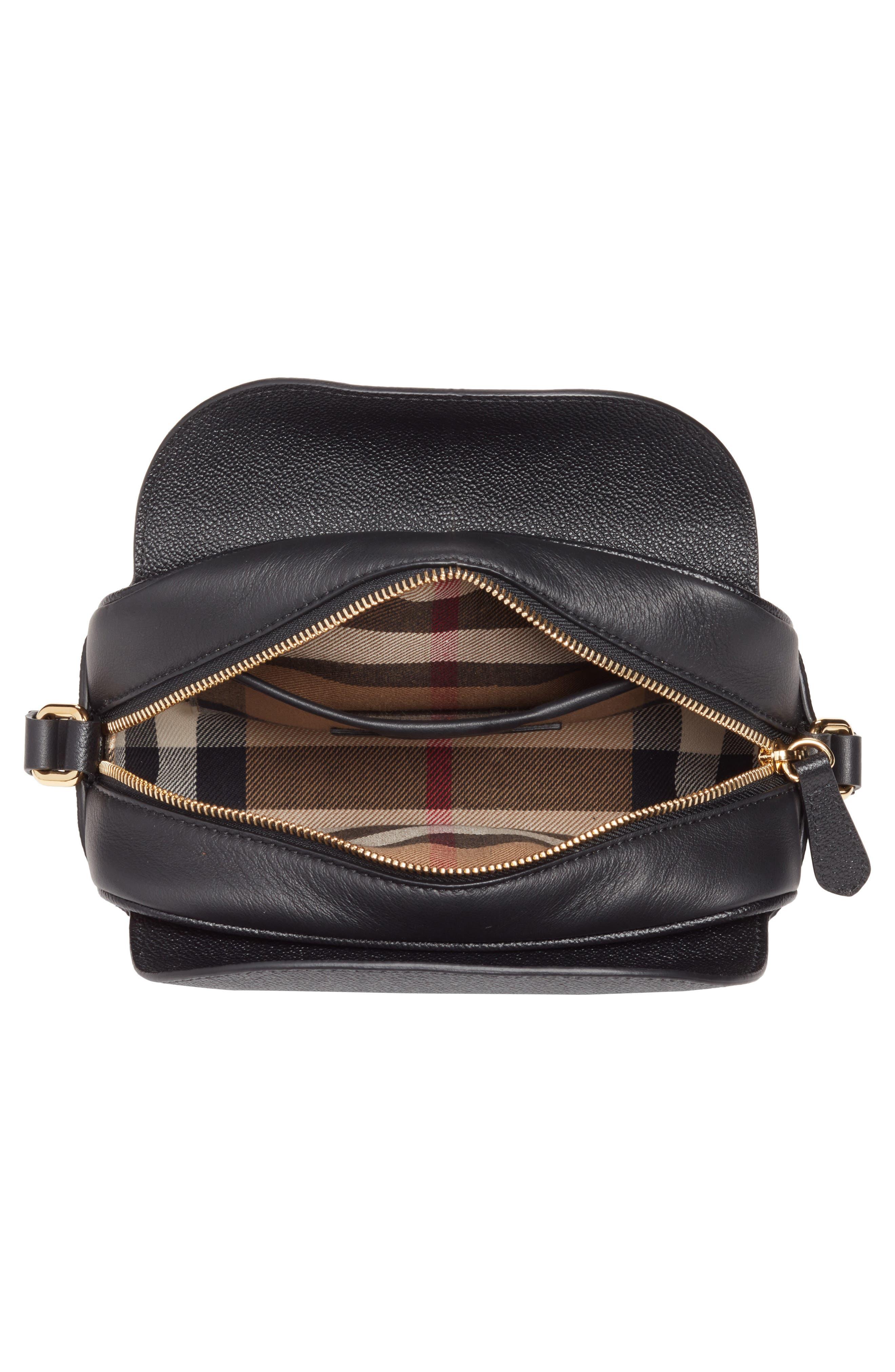 Small Buckle Leather Crossbody Bag,                             Alternate thumbnail 3, color,                             Black