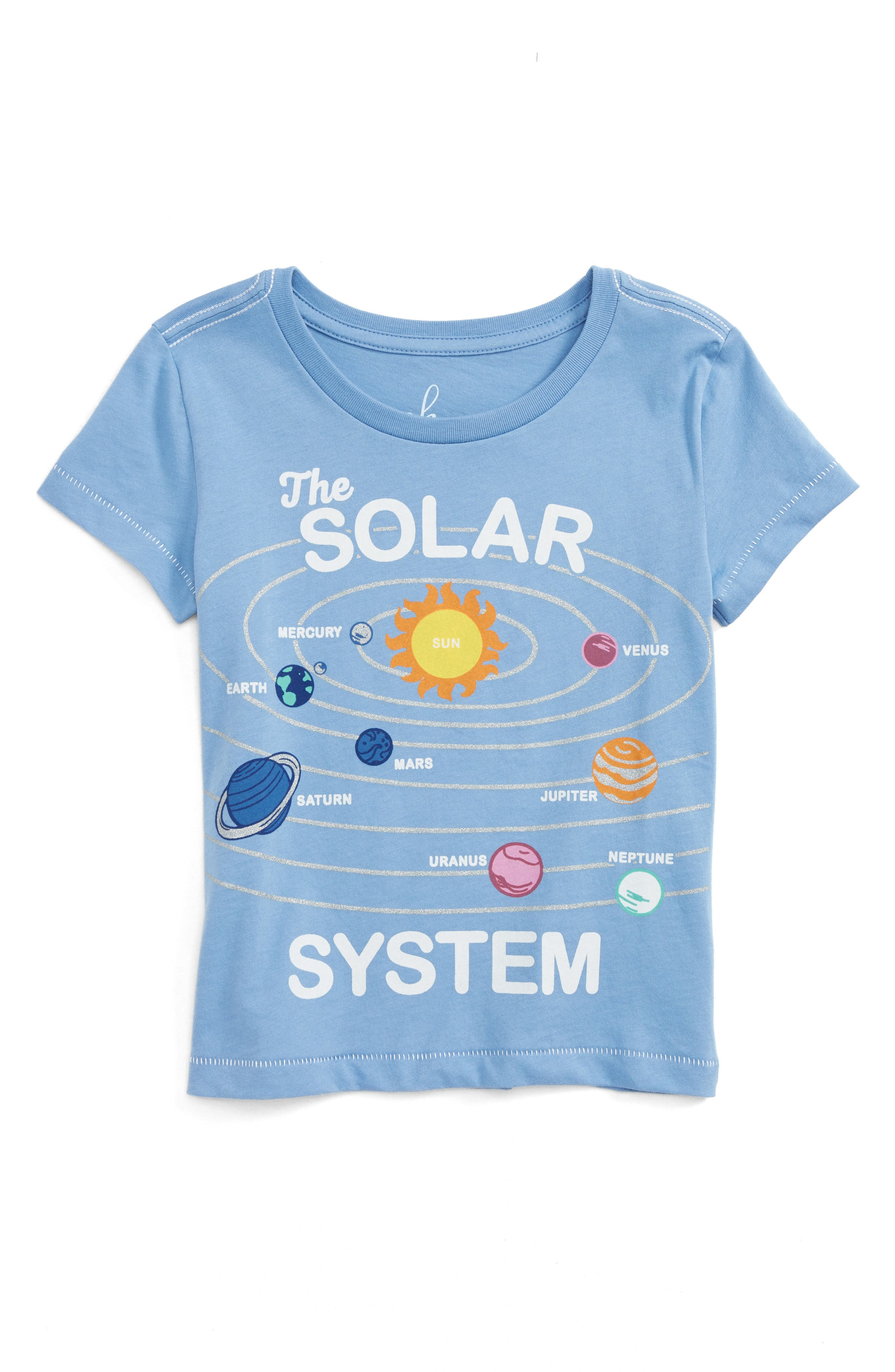 Alternate Image 1 Selected - Peek Solar System Graphic Tee (Toddler Girls, Little Girls & Big Girls)