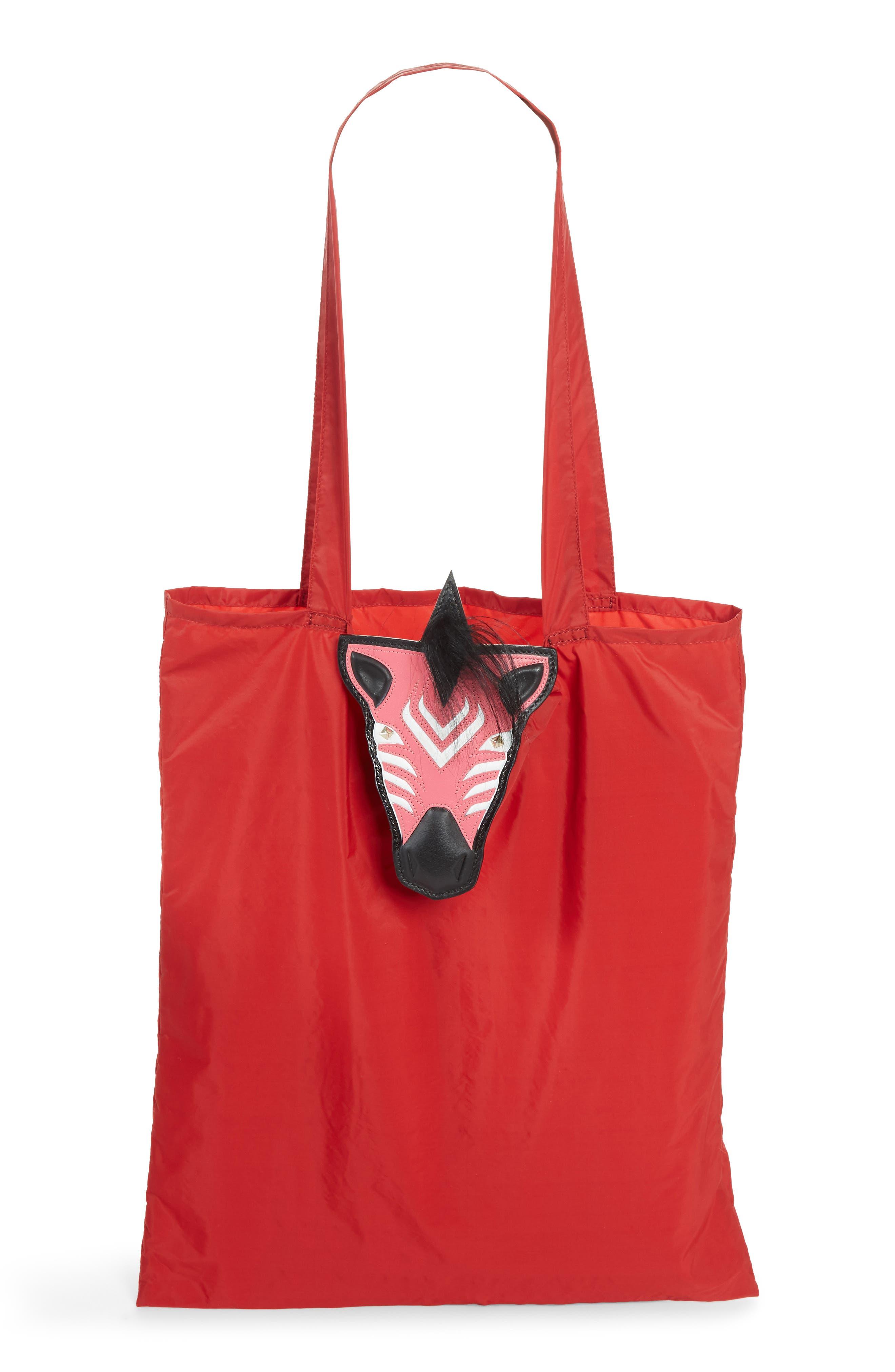 VALENTINO GARAVANI Nylon Tote with Genuine Goat Fur & Leather Bag Charm
