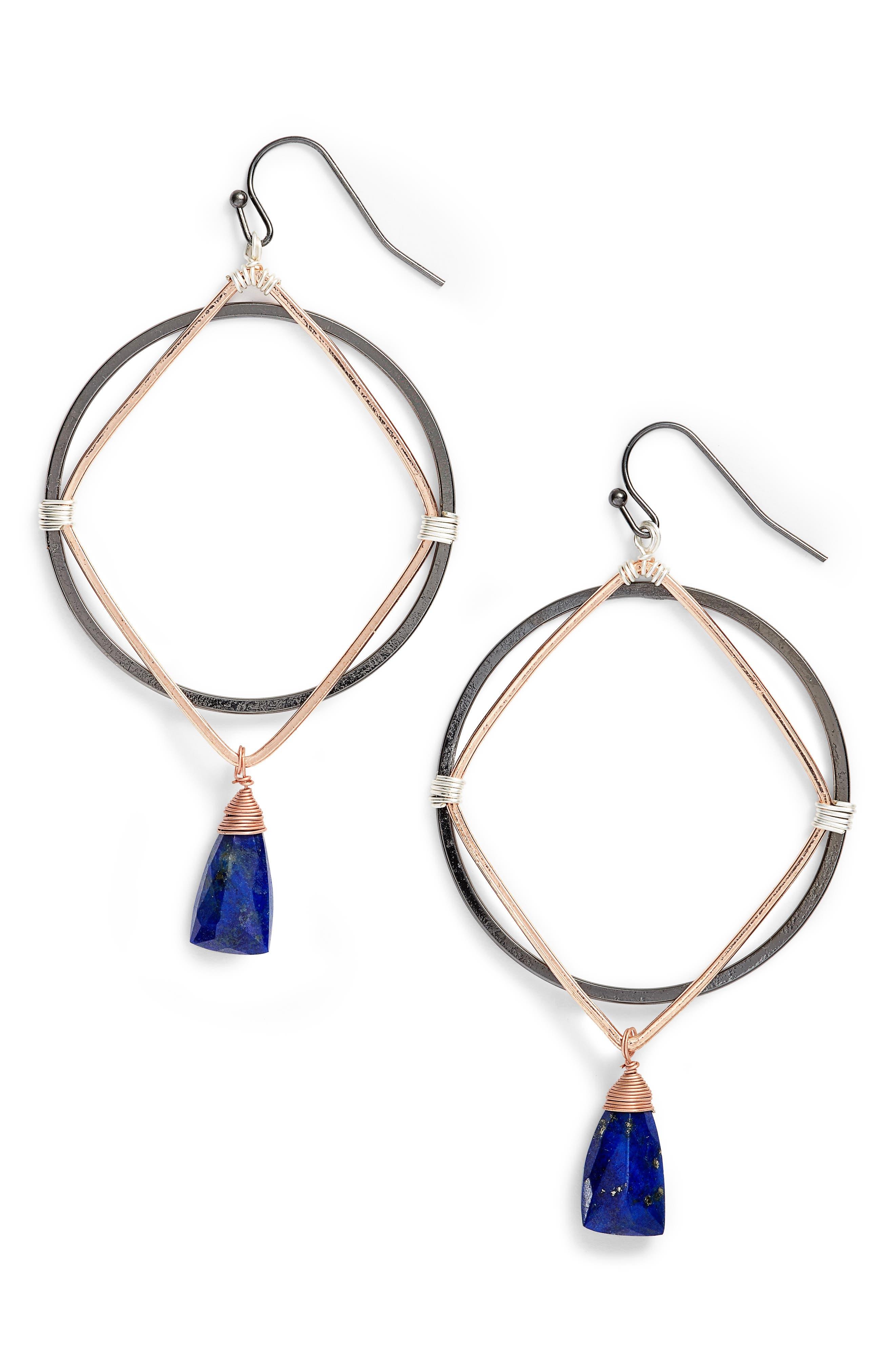 Nakamol Design Lapis Drop Hoop Earrings