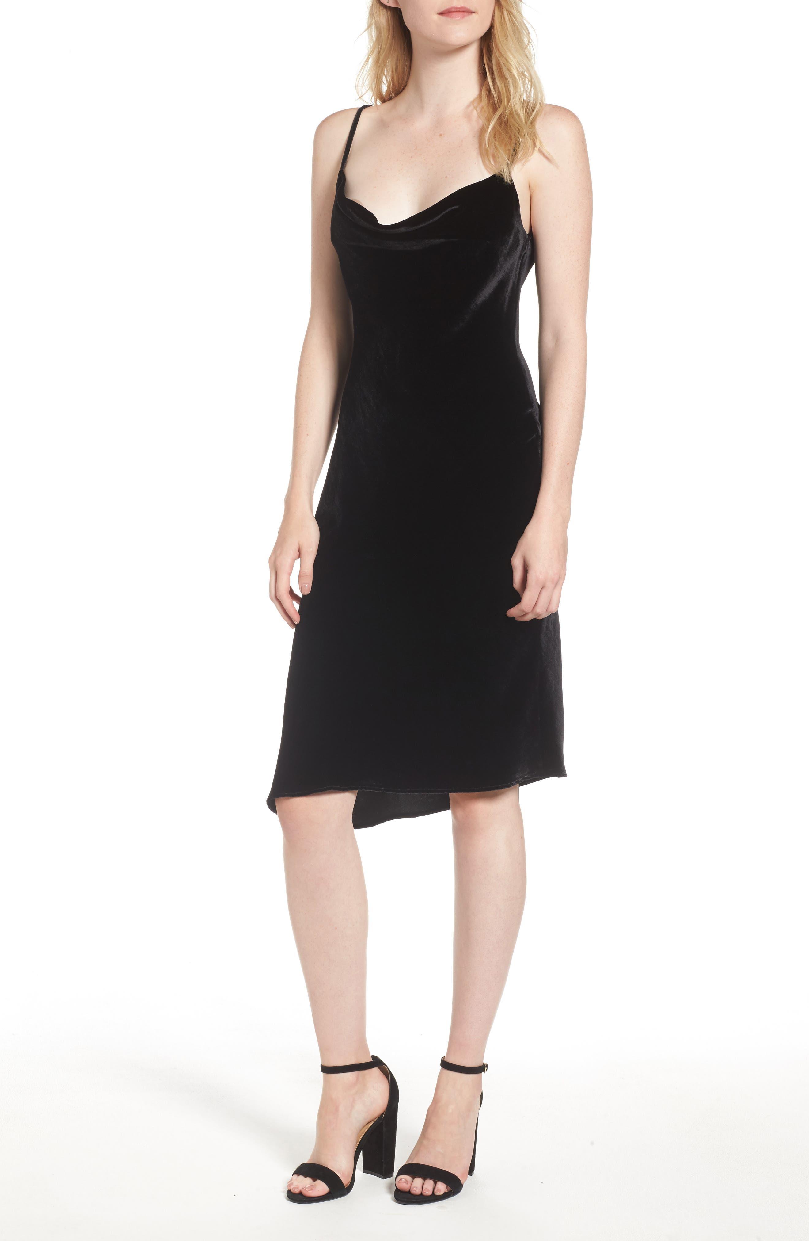Gia Velvet Slipdress,                         Main,                         color, True Black