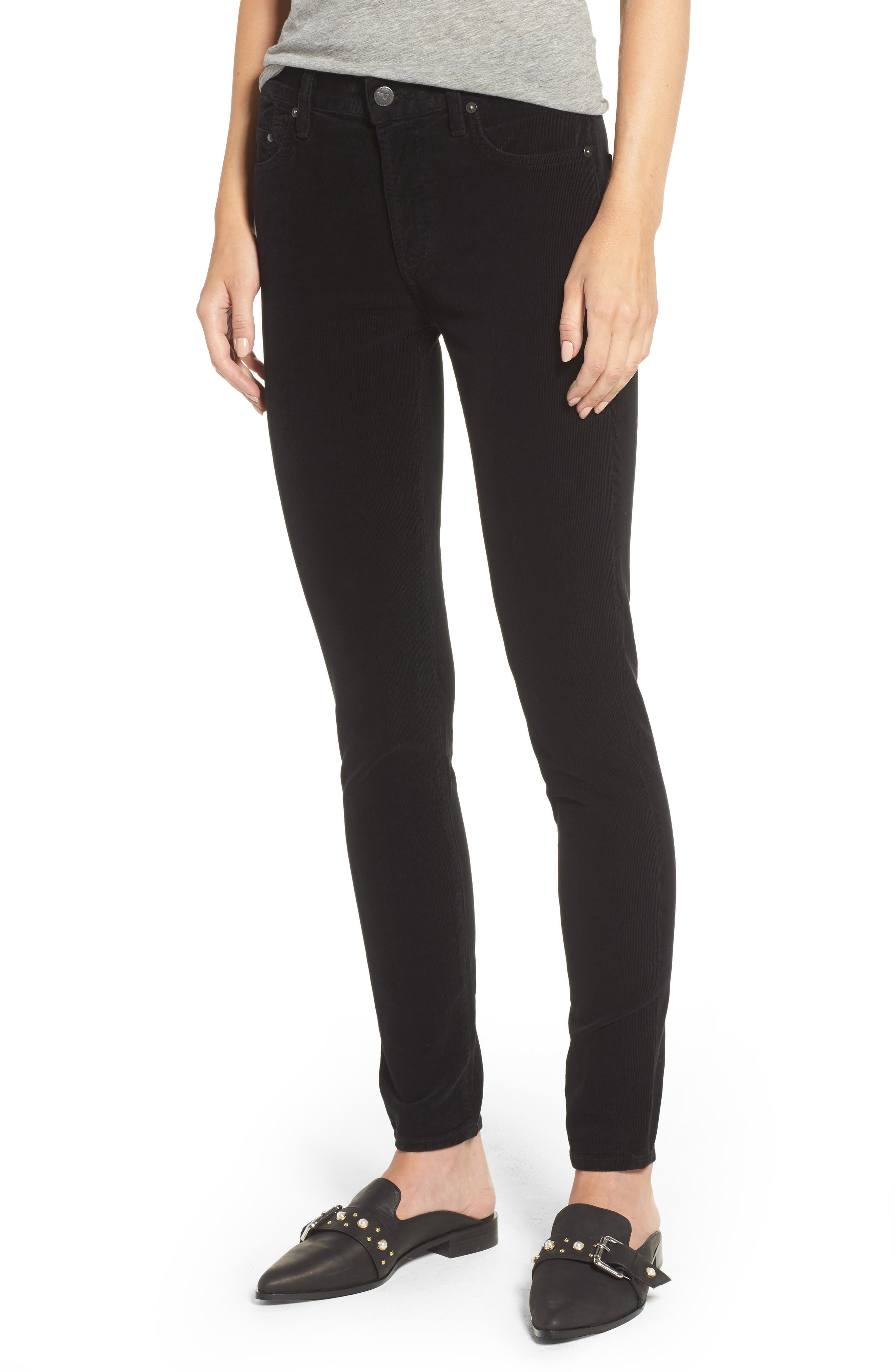Rocket High Waist Skinny Corduroy Pants,                         Main,                         color, Black Cord