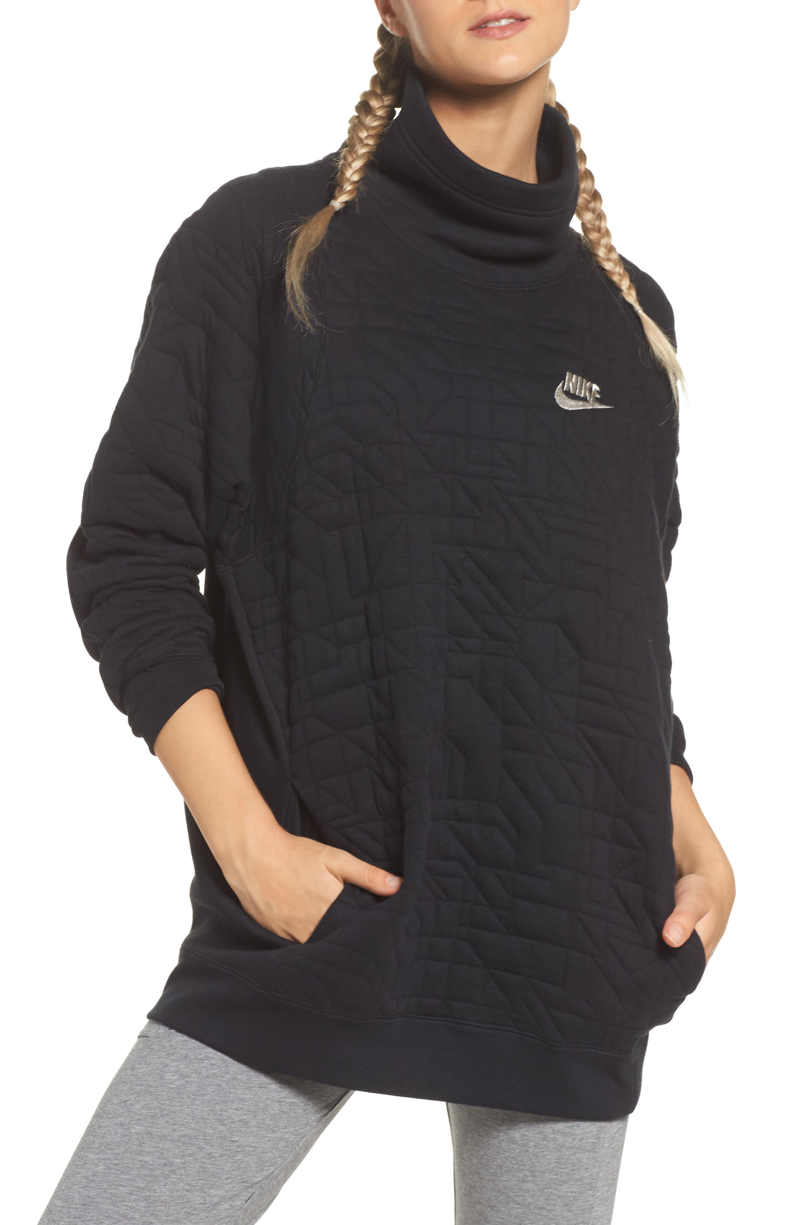 Sportswear Quilted Funnel Neck Pullover,                             Main thumbnail 1, color,                             Black/ Light Bone
