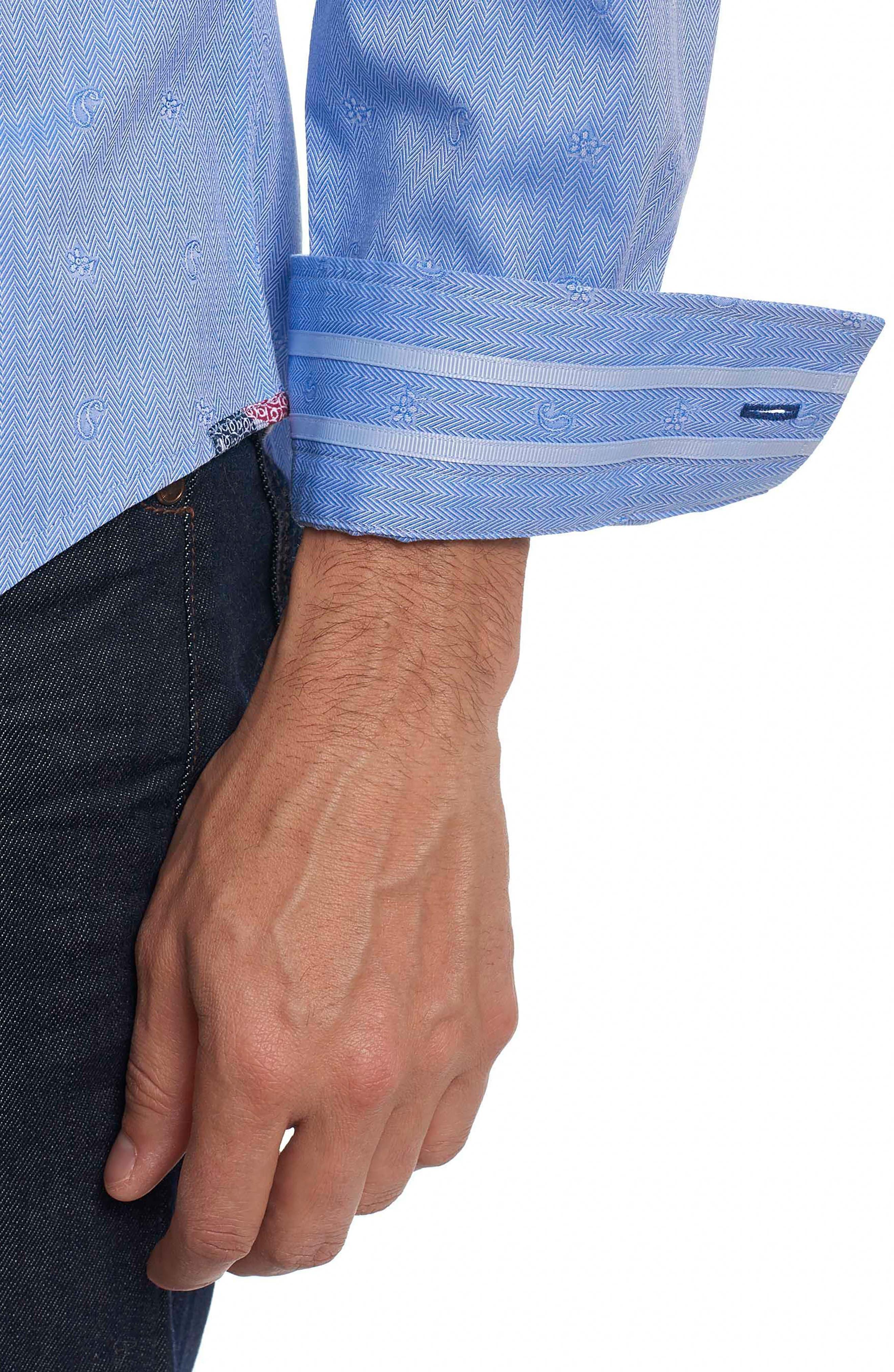 Taner Tailored Fit Dobby Herringbone Sport Shirt,                             Alternate thumbnail 4, color,                             Blue