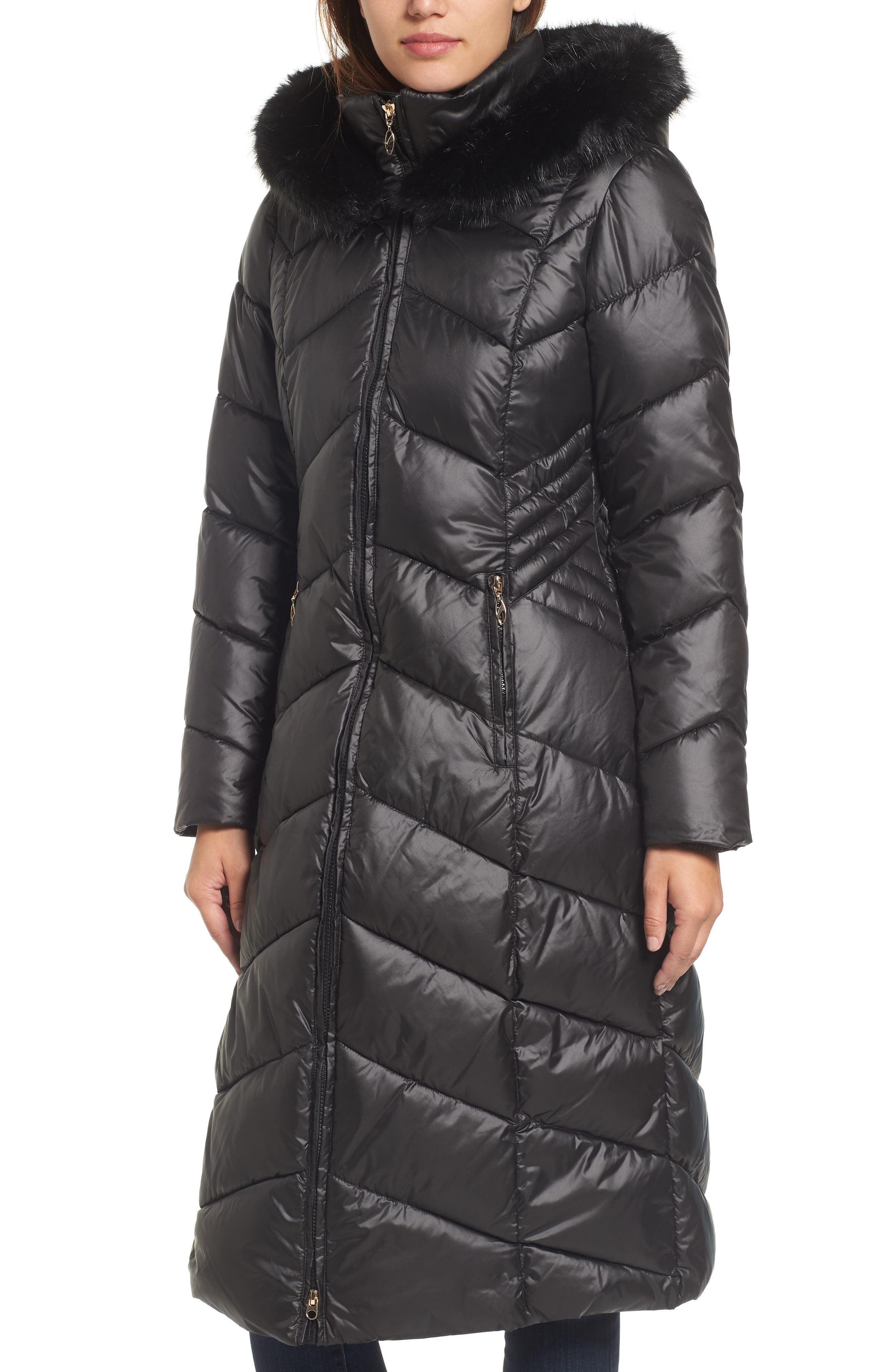 Gallery Long Coat with Faux Fur Trim