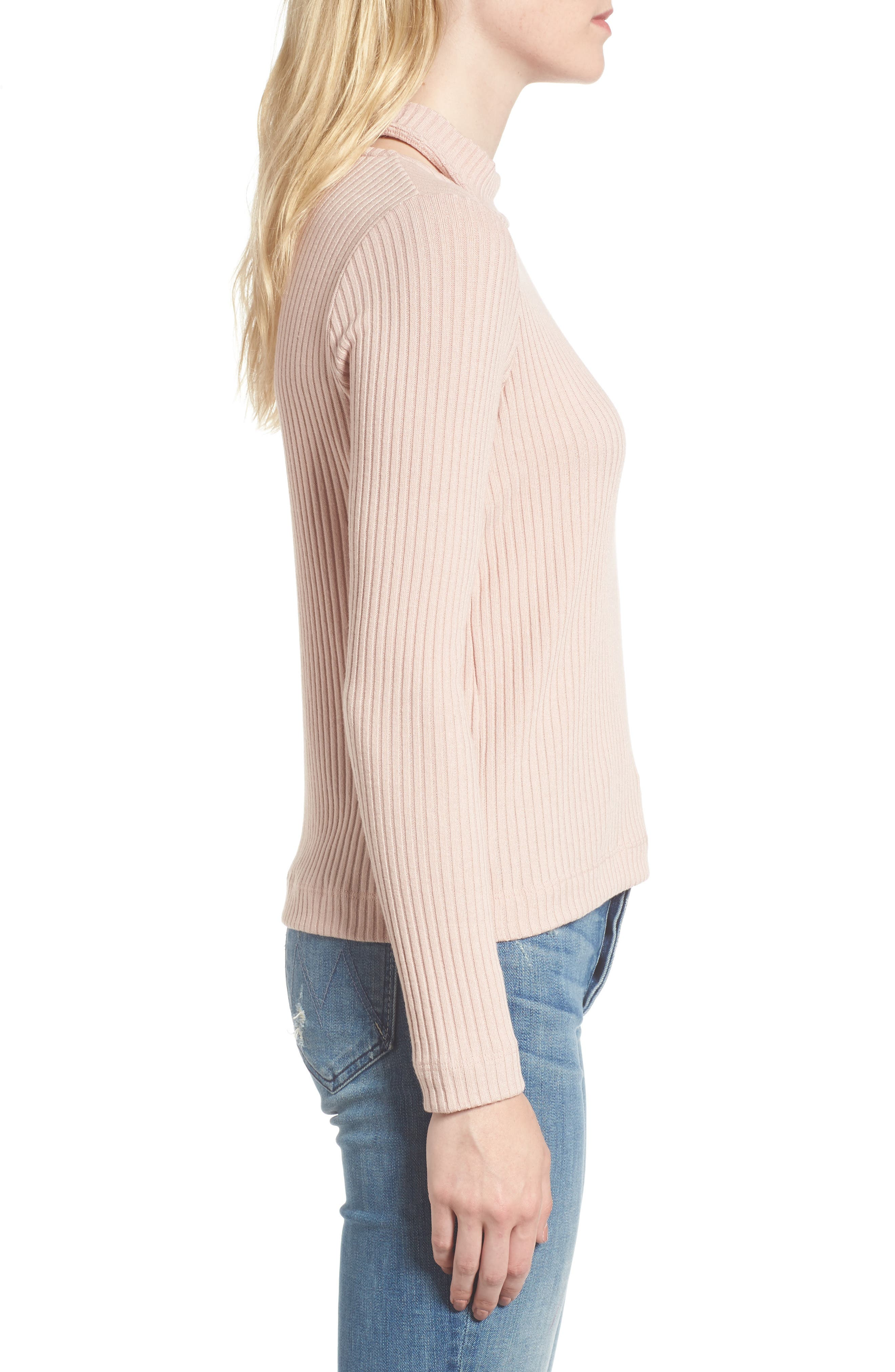 Sylvie Ribbed Mock Neck Sweater,                             Alternate thumbnail 3, color,                             Pink Beige