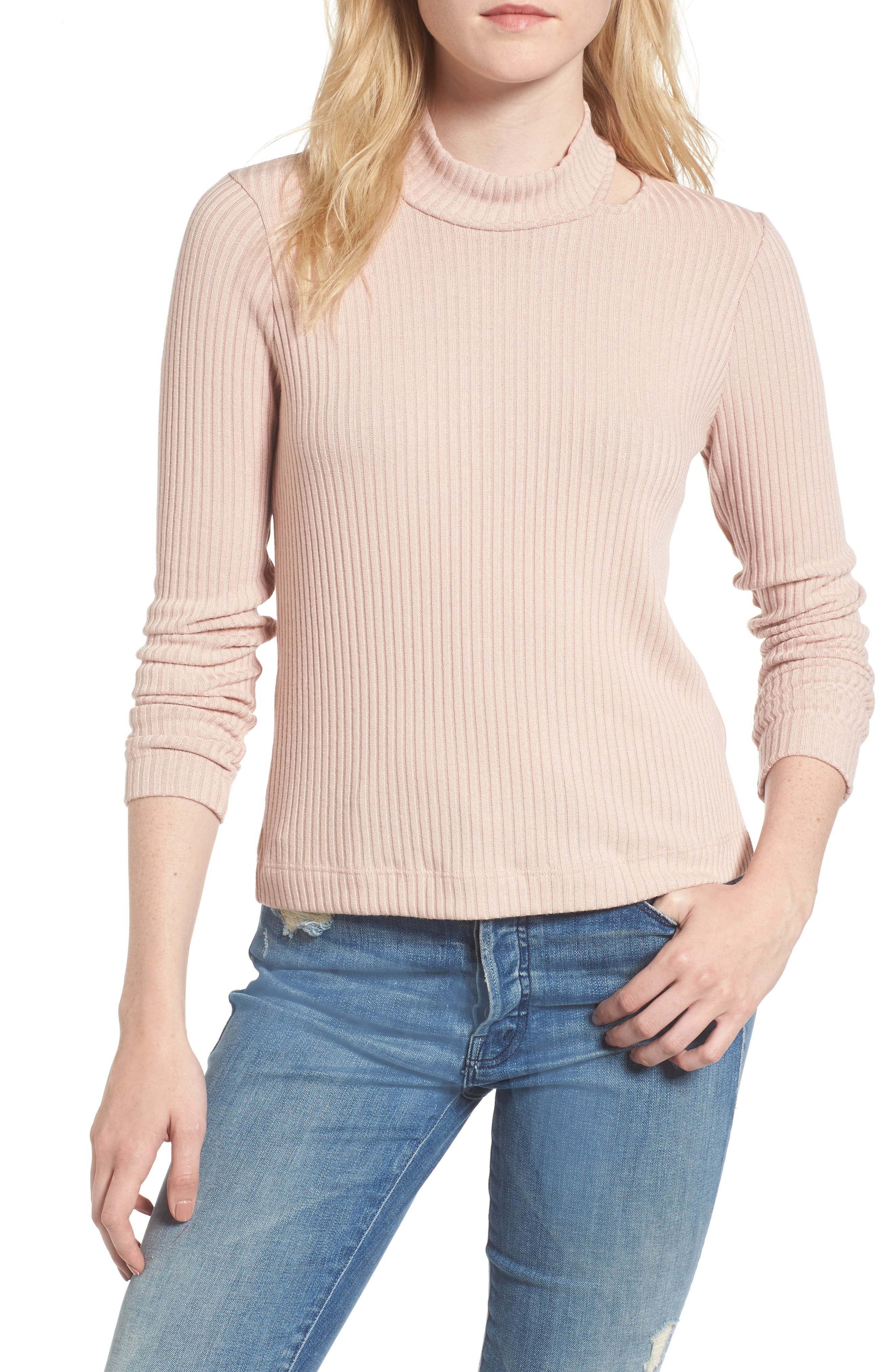 Sylvie Ribbed Mock Neck Sweater,                             Main thumbnail 1, color,                             Pink Beige