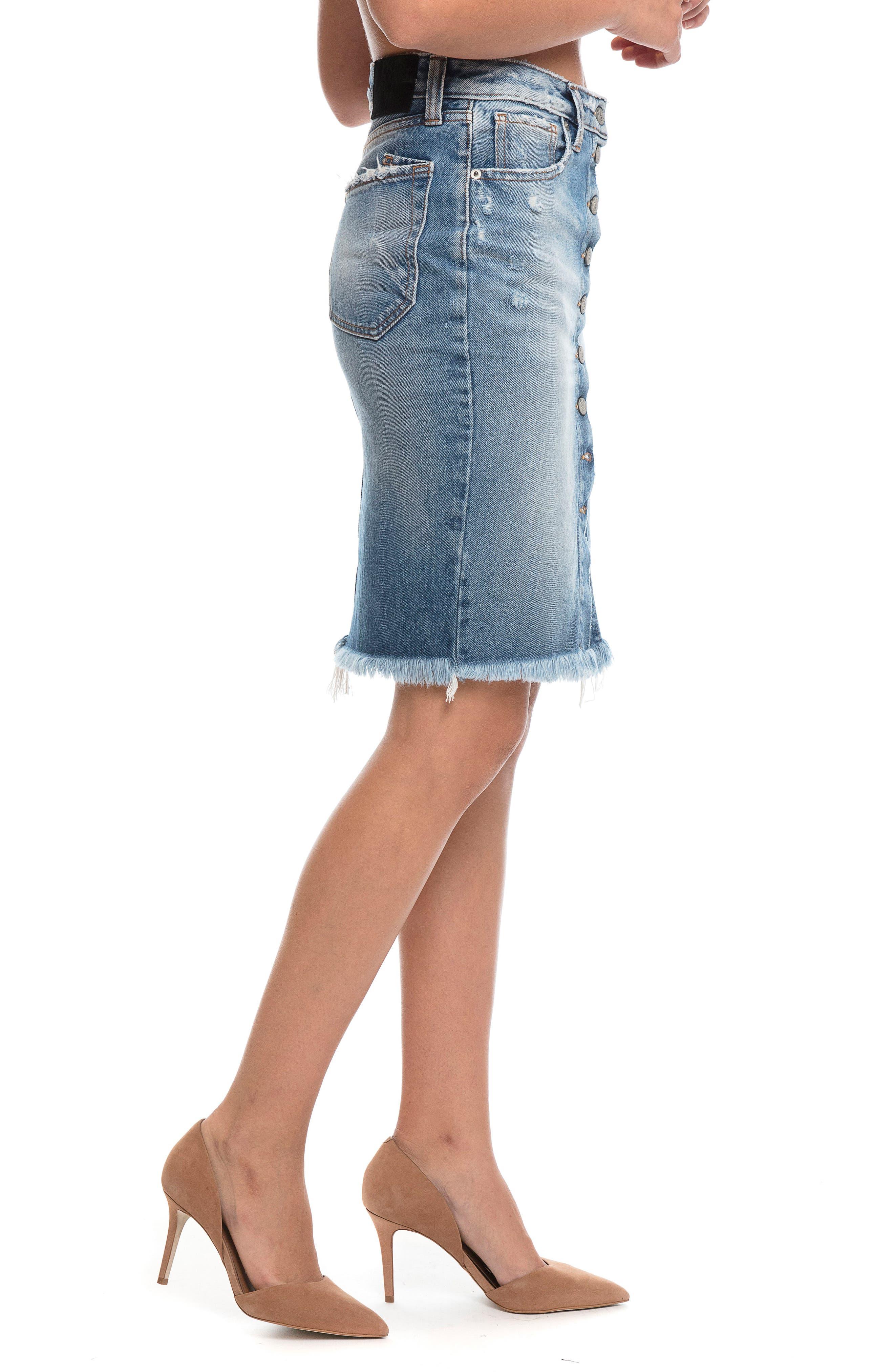 Button Down Denim Pencil Skirt,                             Alternate thumbnail 3, color,                             Vintage Blue