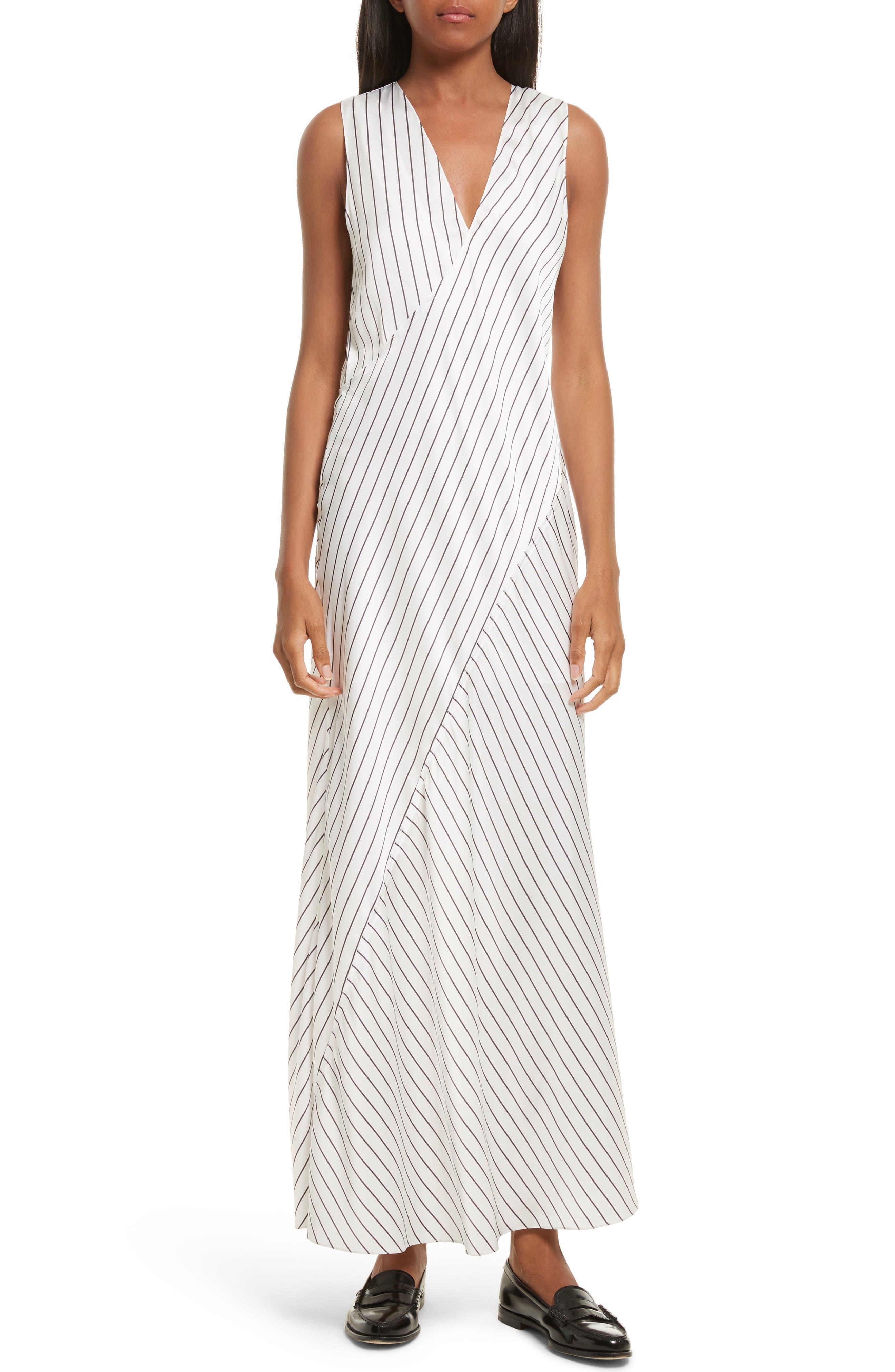 Stripe Maxi Dress,                         Main,                         color, Ivory/ Black