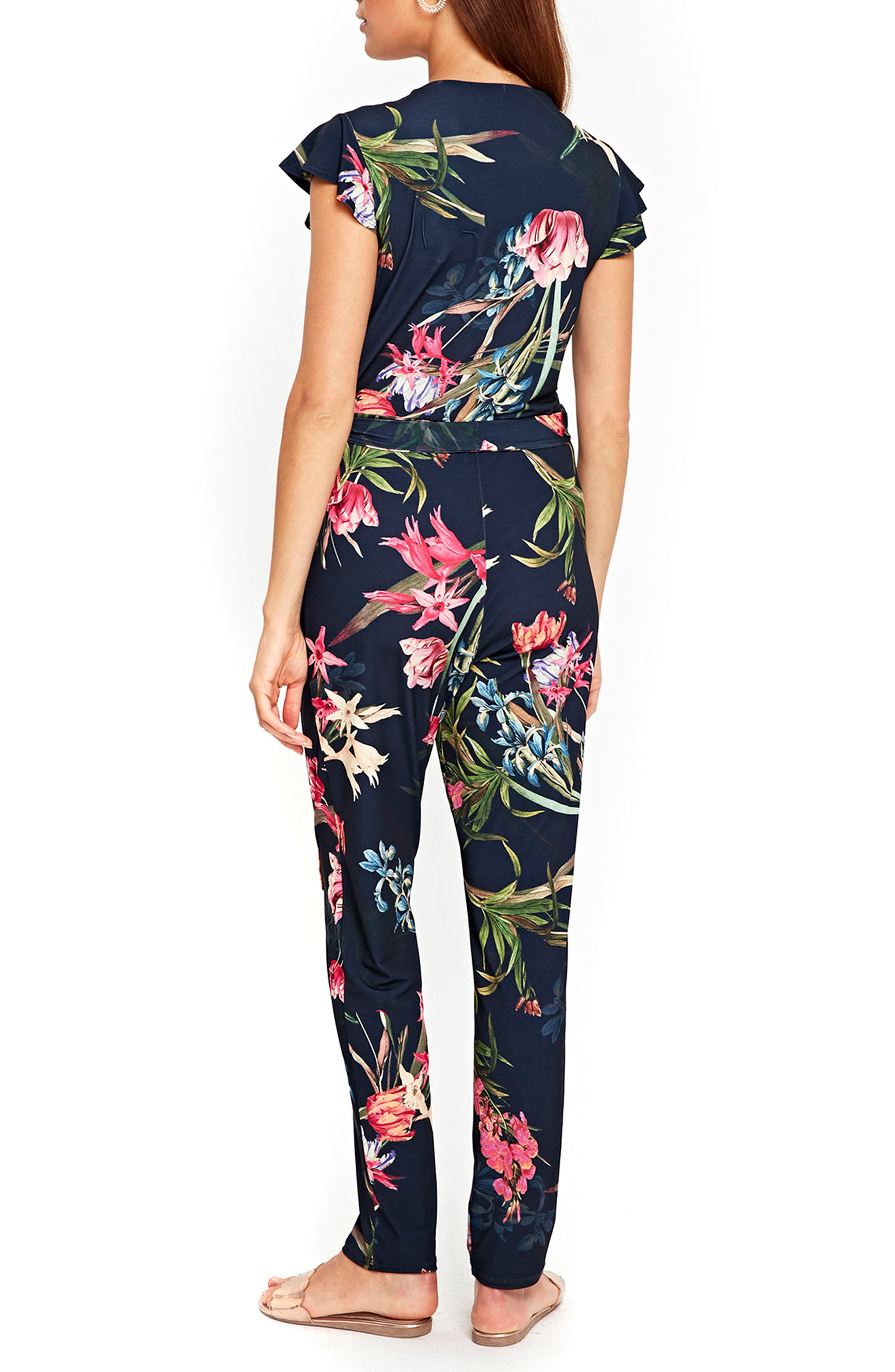 Tulip Blossom Jumpsuit,                             Alternate thumbnail 3, color,                             Navy