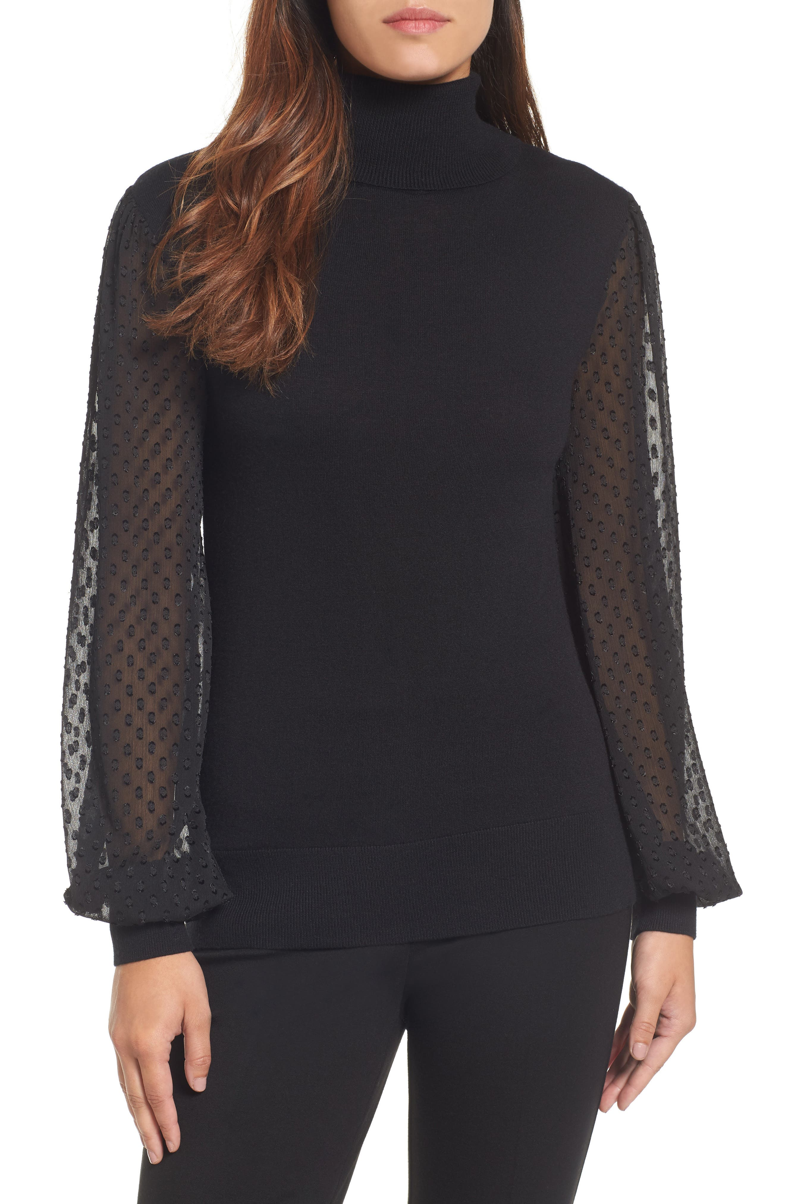 Halogen® Sheer Sleeve Turtleneck Sweater (Regular & Petite)