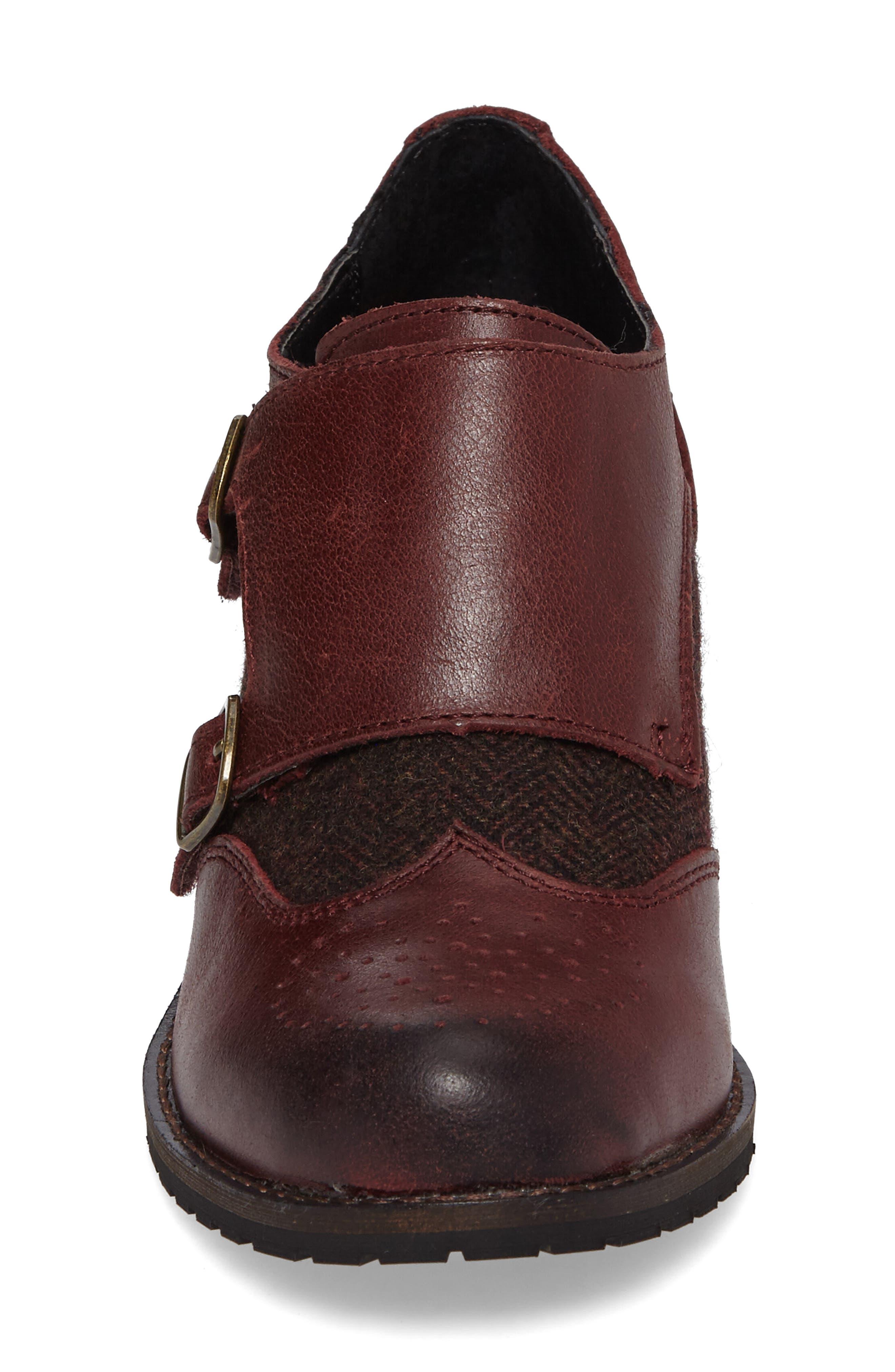 Dina Double Monk Strap Ankle Boot,                             Alternate thumbnail 4, color,                             Merlot Leather