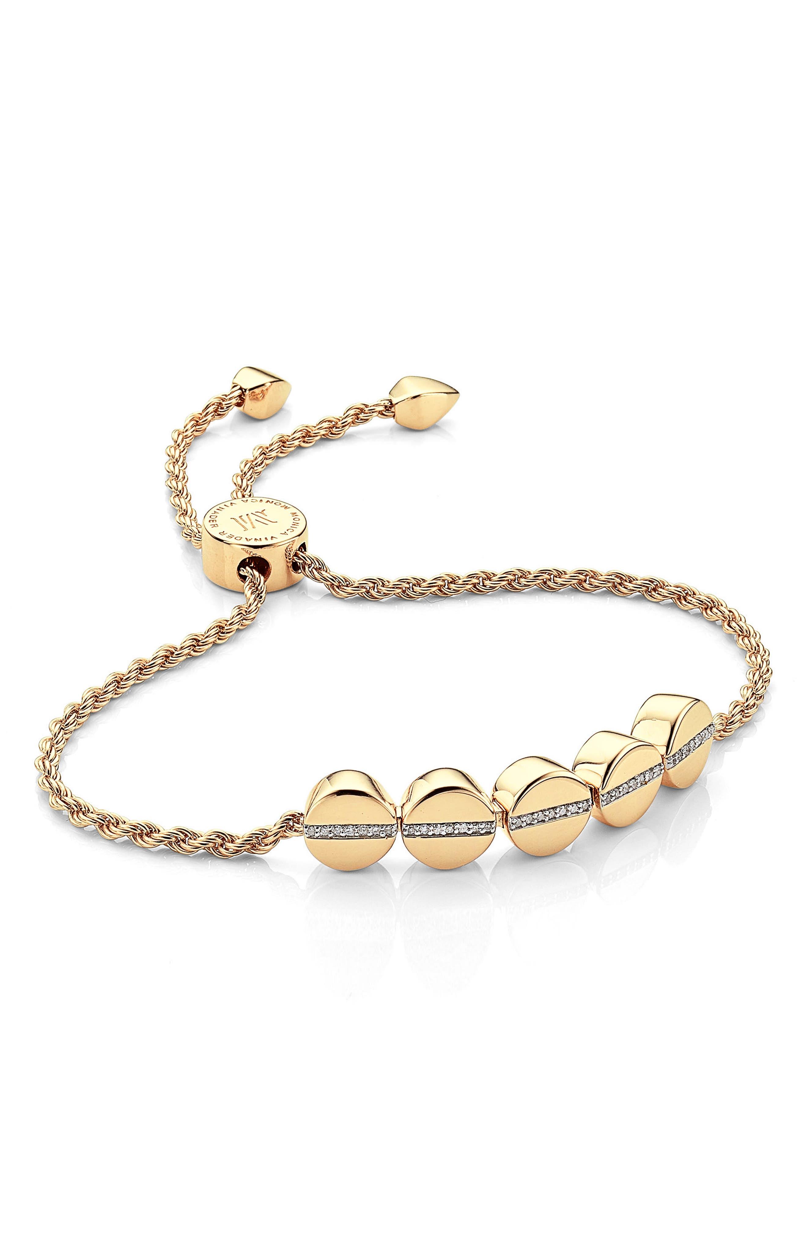 Monica Vinader Diamond Beaded Friendship Bracelet