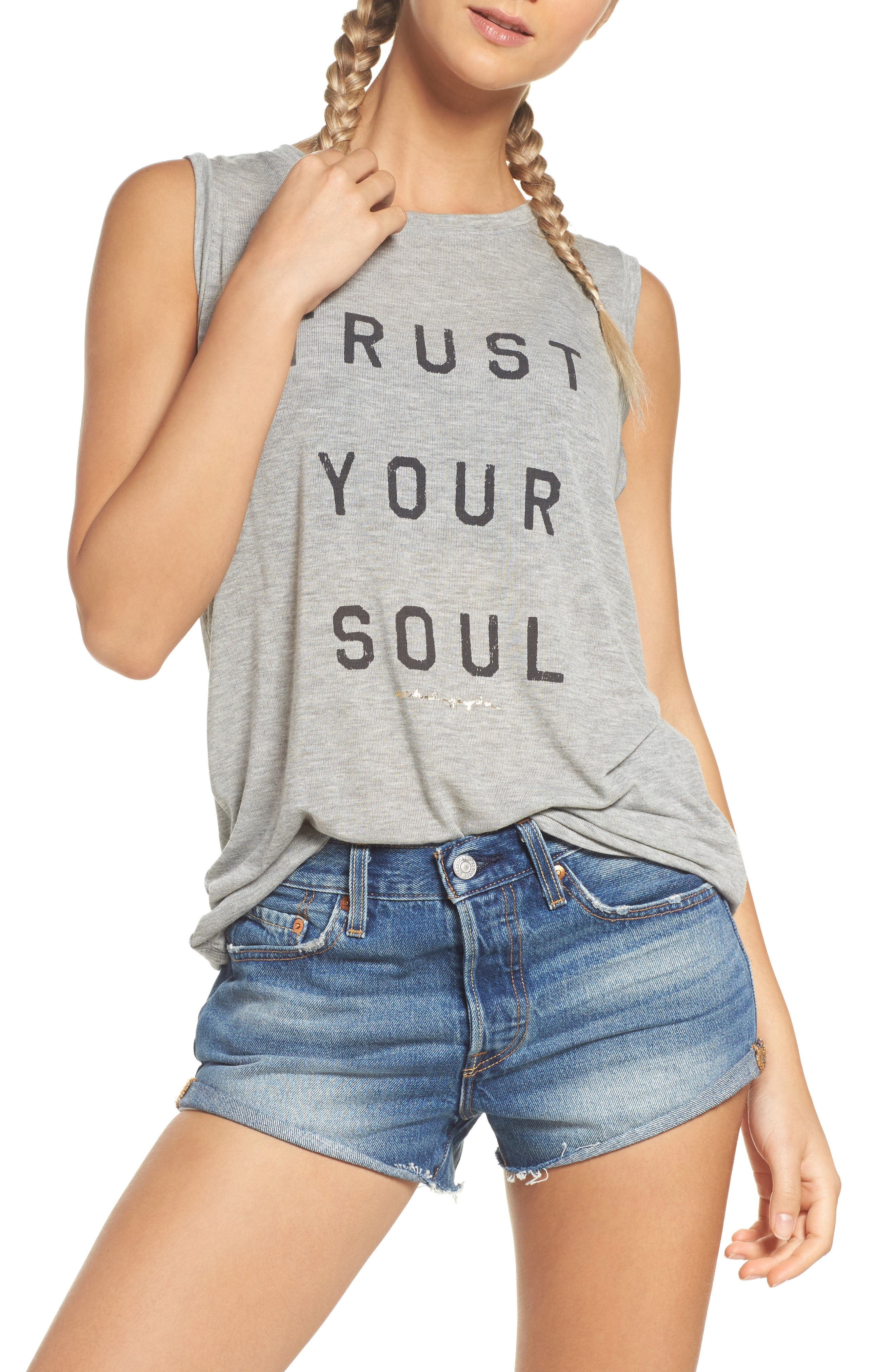 Trust Your Soul Muscle Tee,                             Main thumbnail 1, color,                             Heather Grey